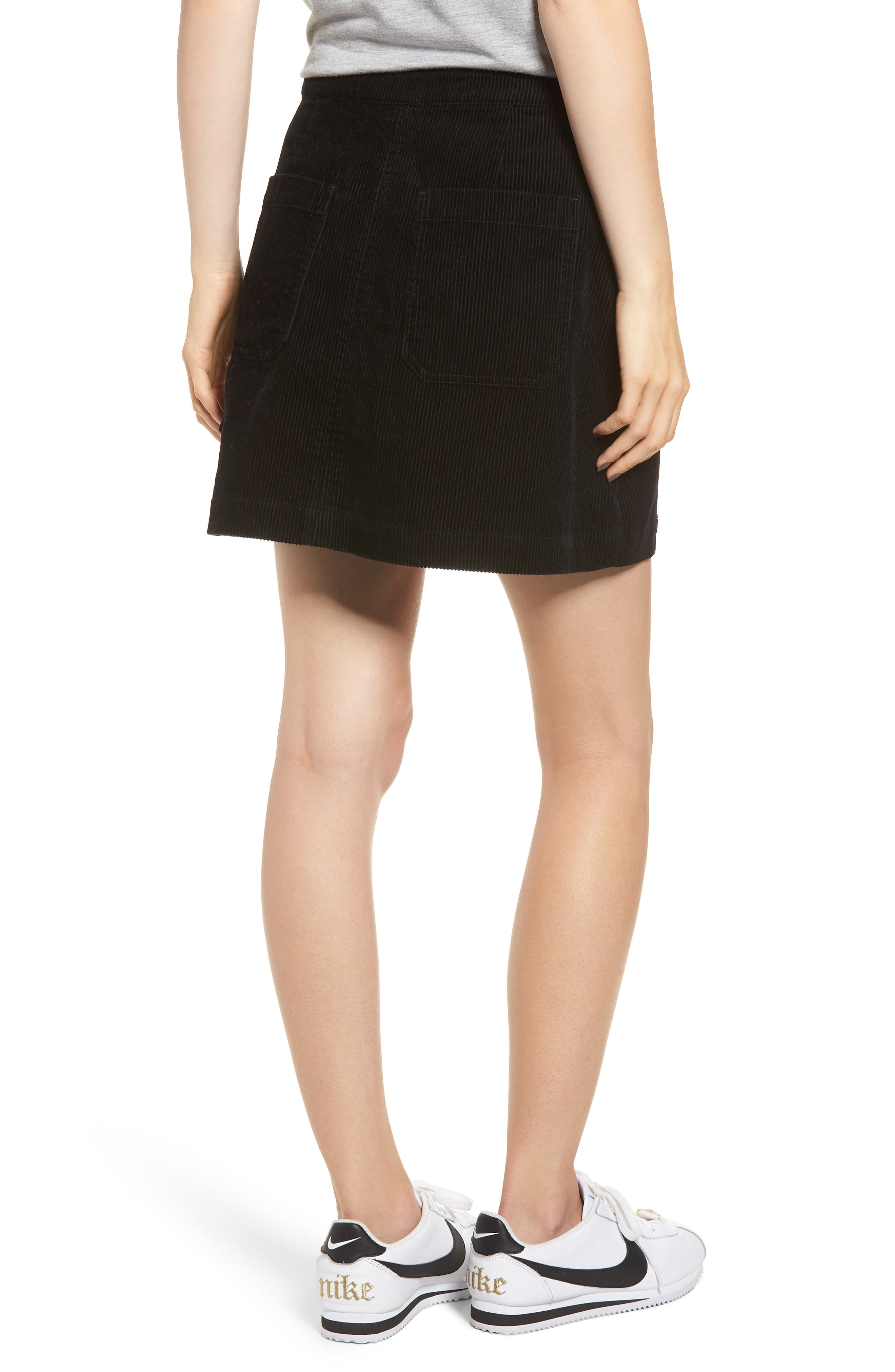 Corduroy Utility Skirt,                             Alternate thumbnail 2, color,                             BLACK