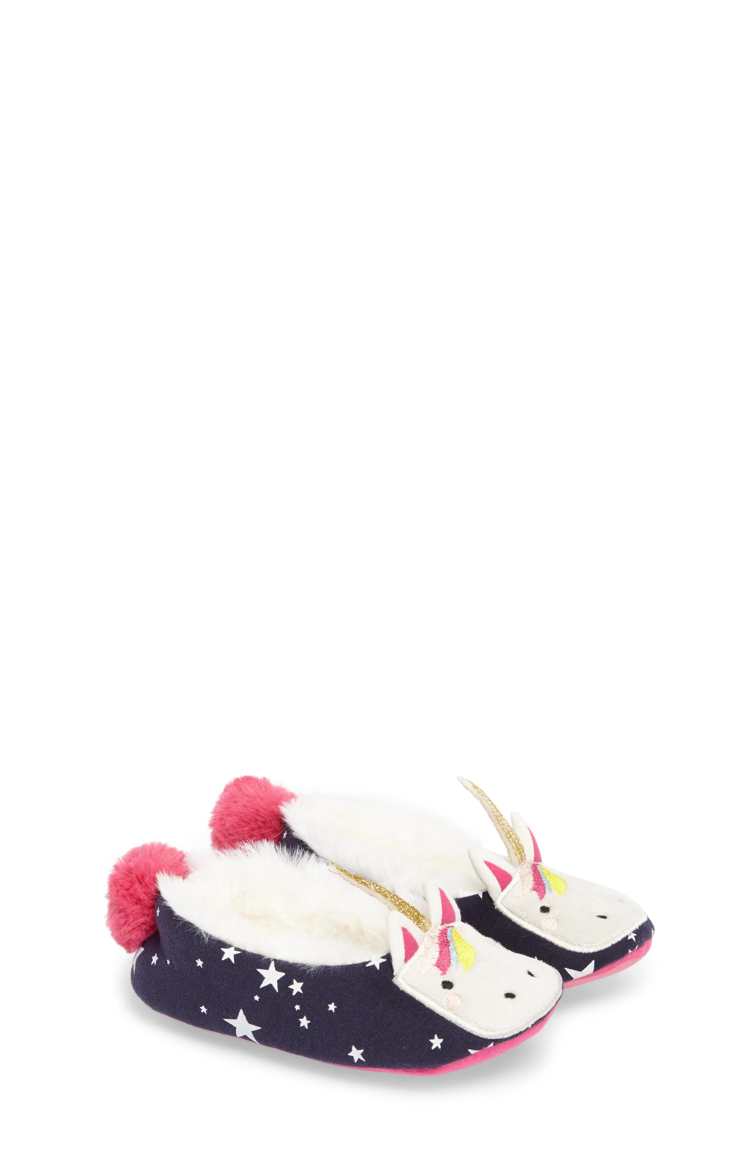 Faux Fur Character Slipper,                         Main,                         color, FRENCH NAVY UNICORN