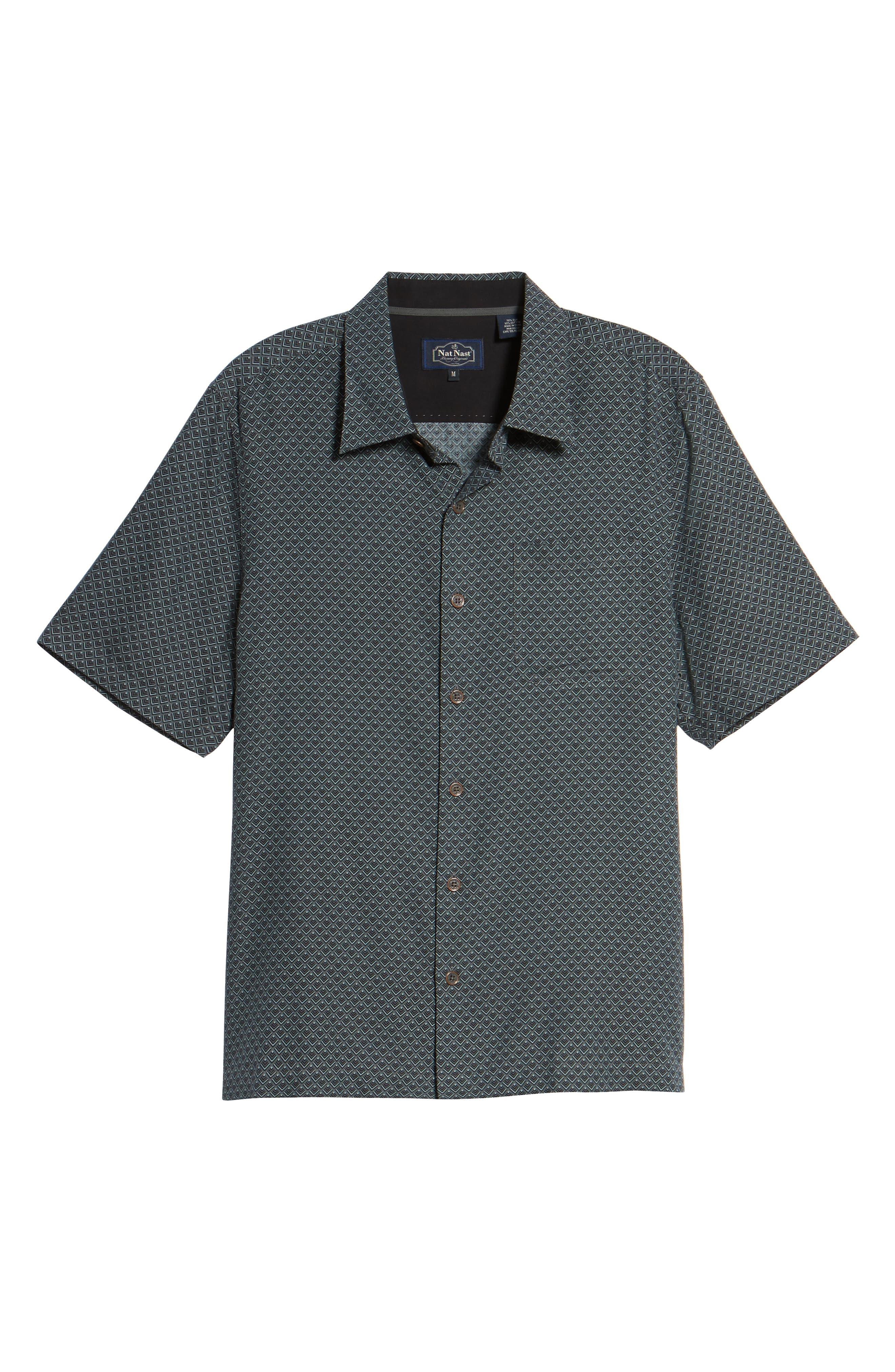 Ajax Classic Fit Silk Blend Camp Shirt,                             Alternate thumbnail 6, color,                             001