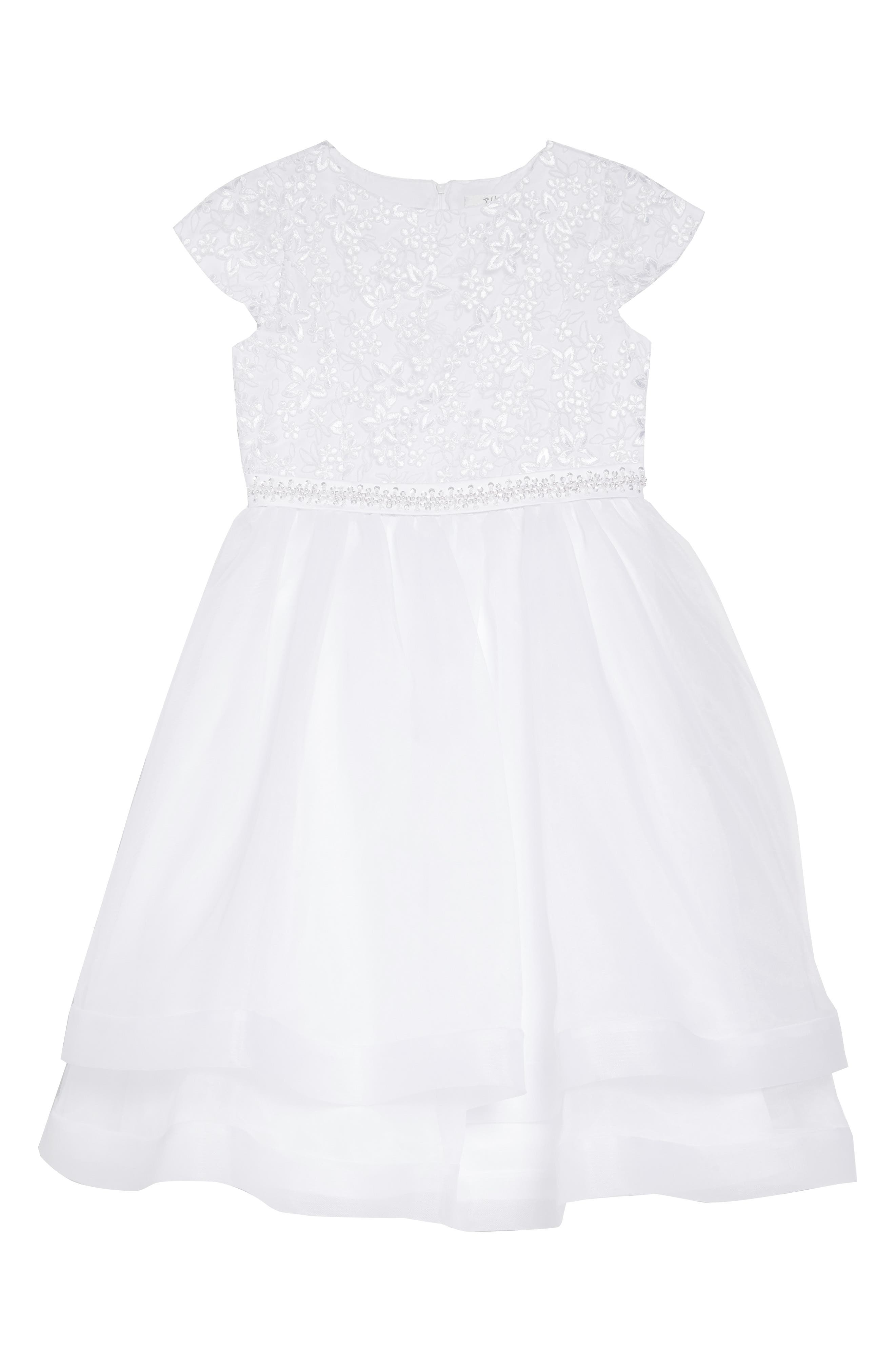 Sleeveless Embroidered & Beaded Communion Dress, Main, color, WHITE