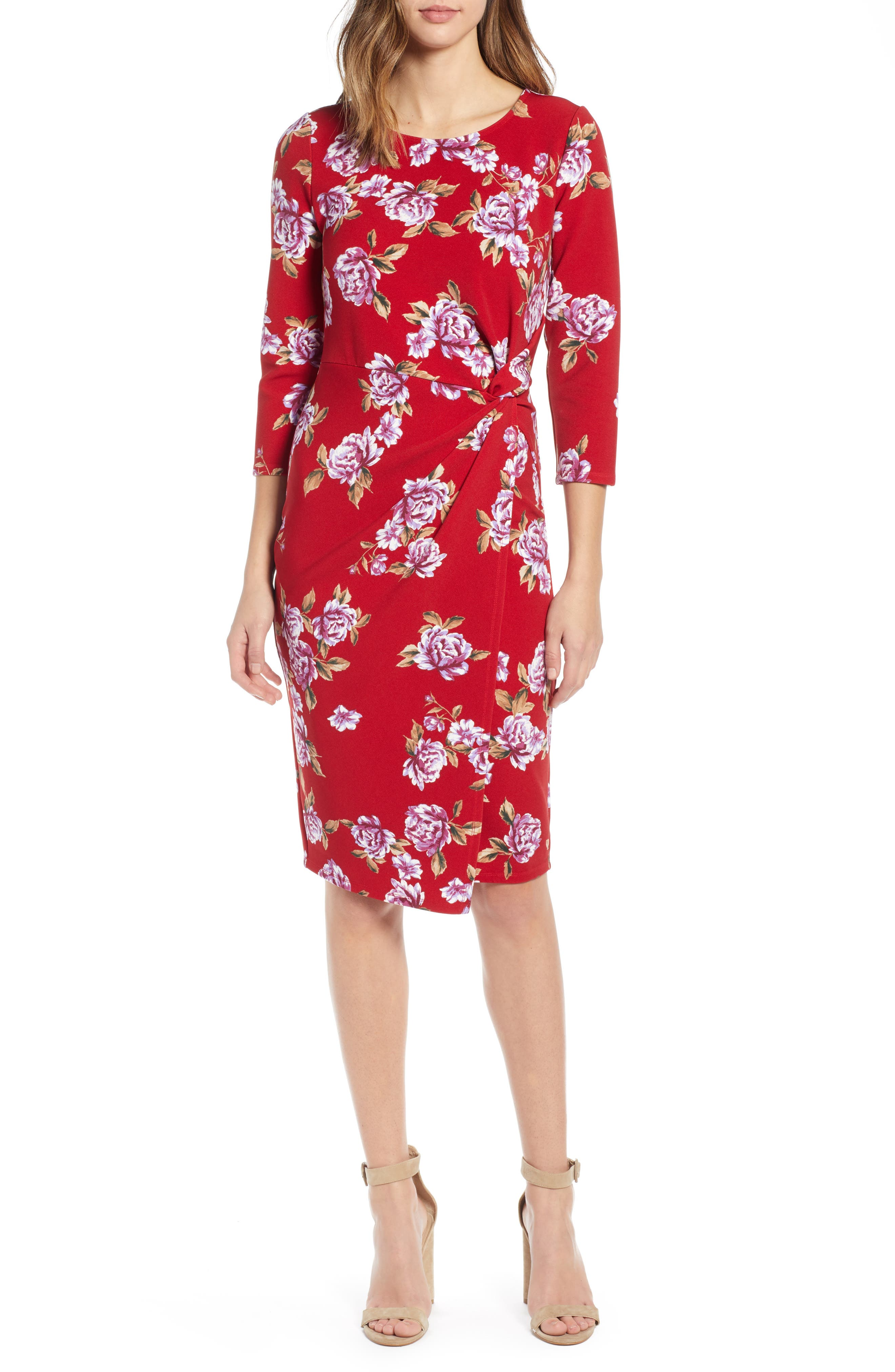 Socialite Side Twist Dress, Red