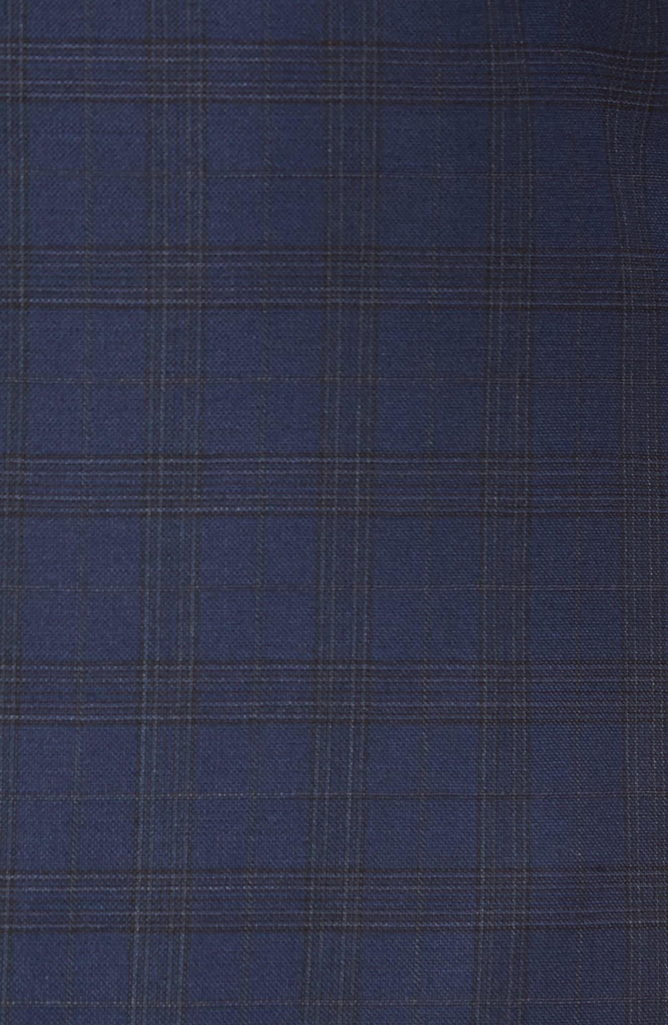 Jetsetter Slim Fit Stretch Wool Sport Coat,                             Alternate thumbnail 5, color,                             SUBTLE NAVY PLAID