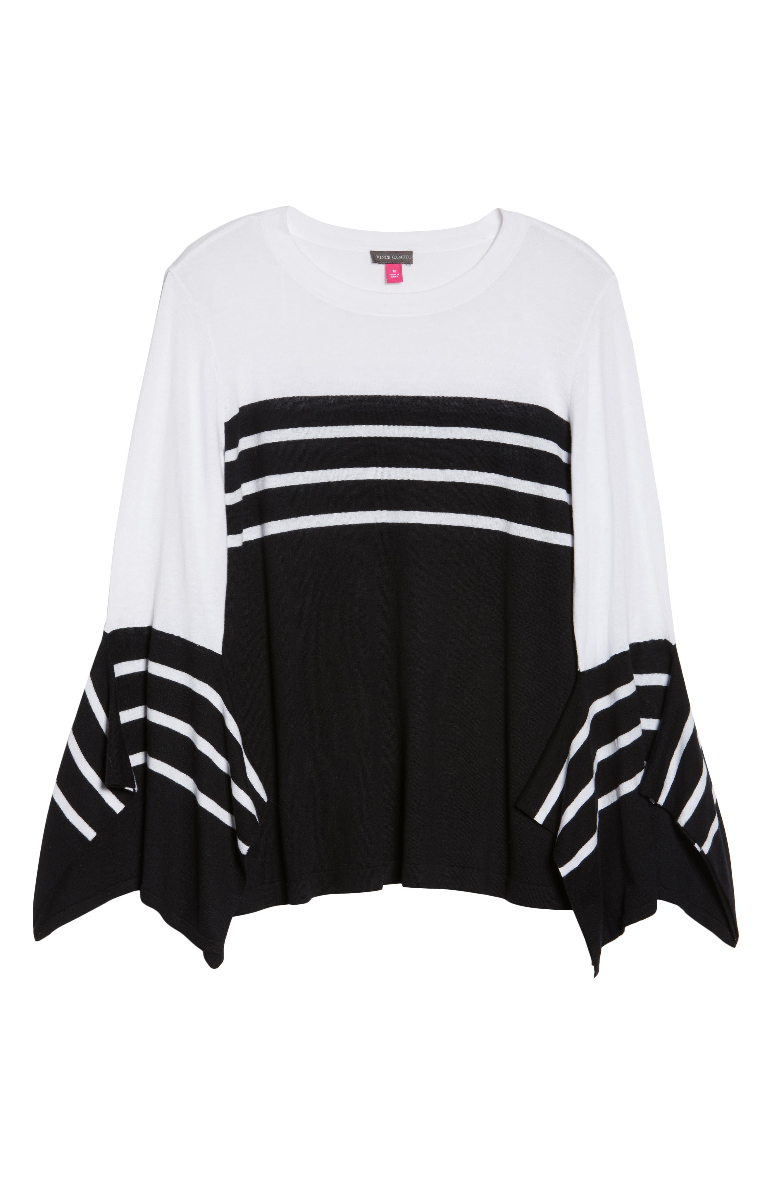 Handkerchief Sleeve Stripe Sweater,                             Alternate thumbnail 6, color,                             006
