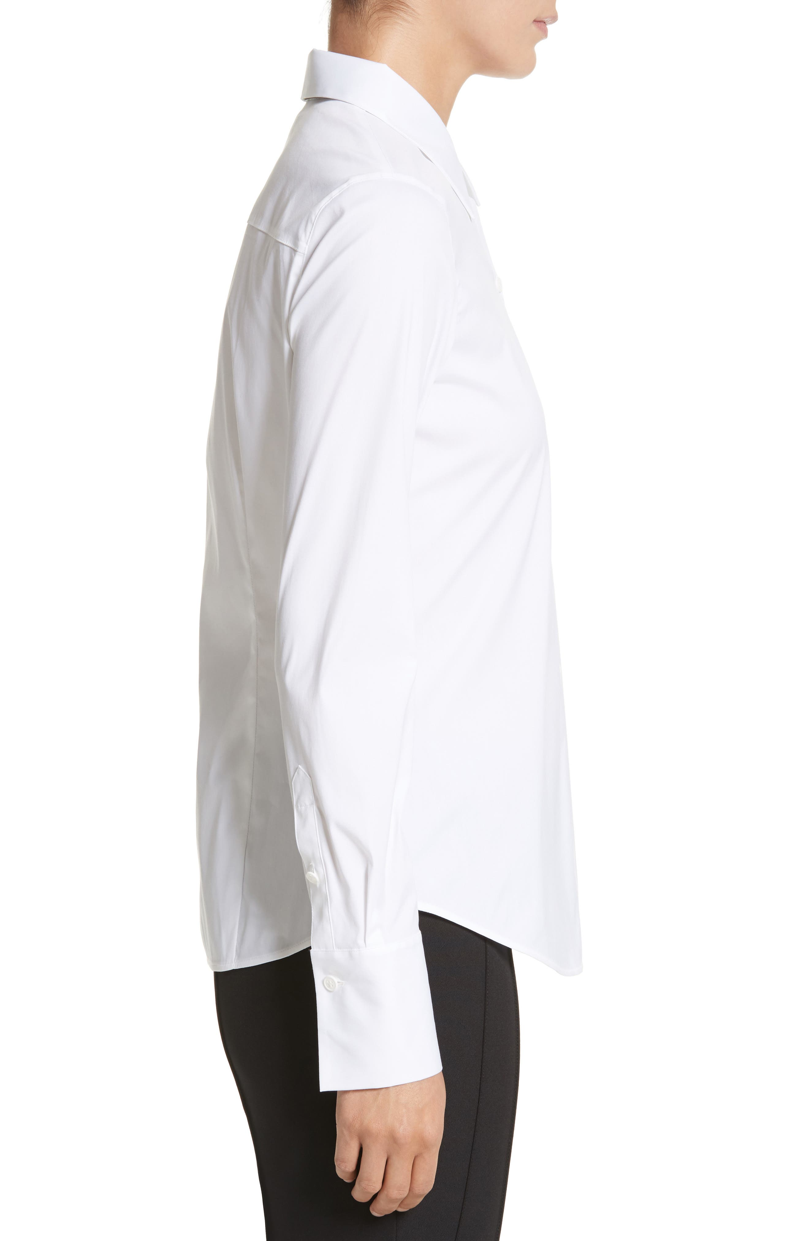 LAFAYETTE 148 NEW YORK,                             Linley Stretch Cotton Blouse,                             Alternate thumbnail 3, color,                             WHITE