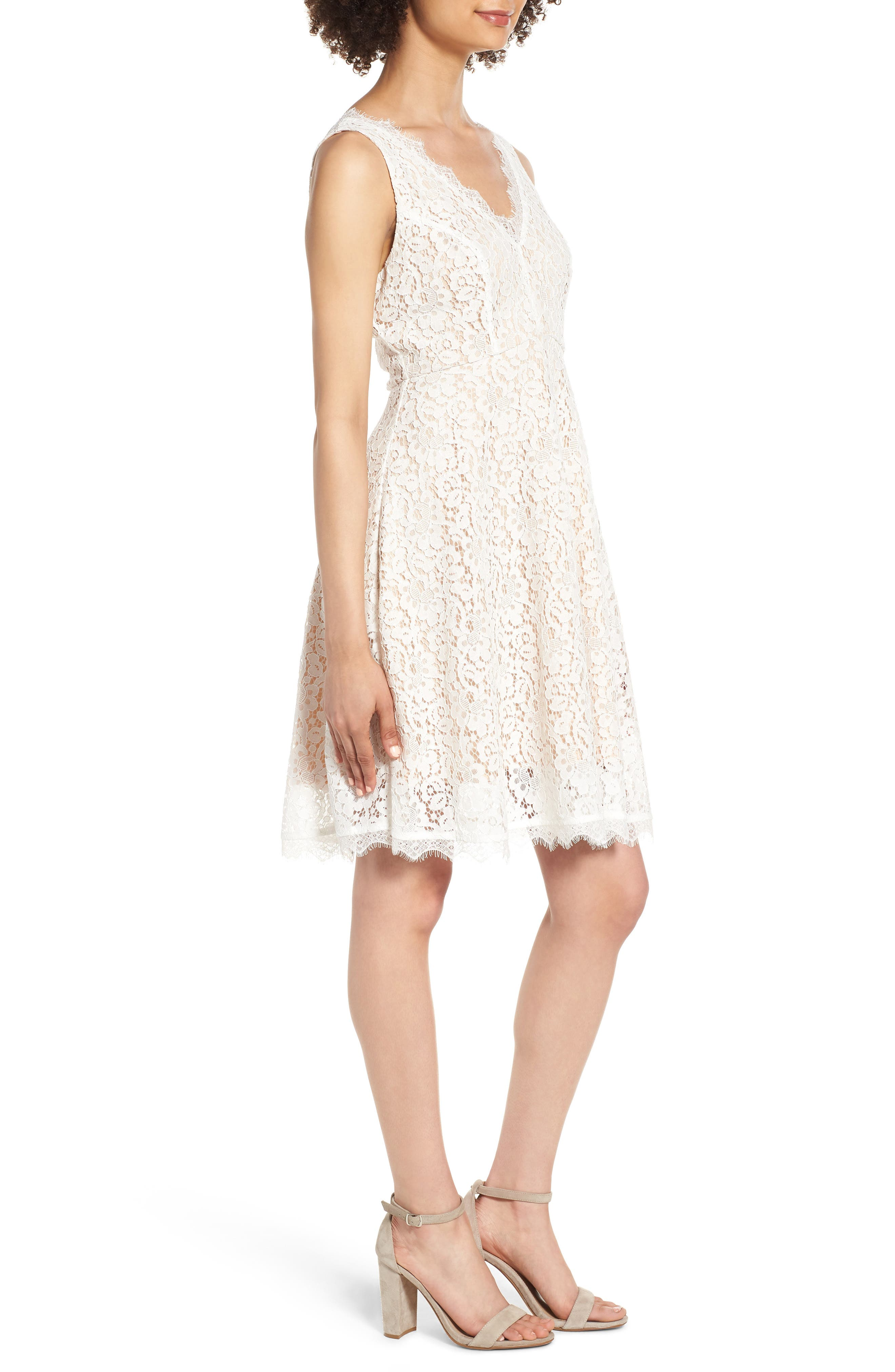 Lace Fit & Flare Dress,                             Alternate thumbnail 3, color,                             IVORY