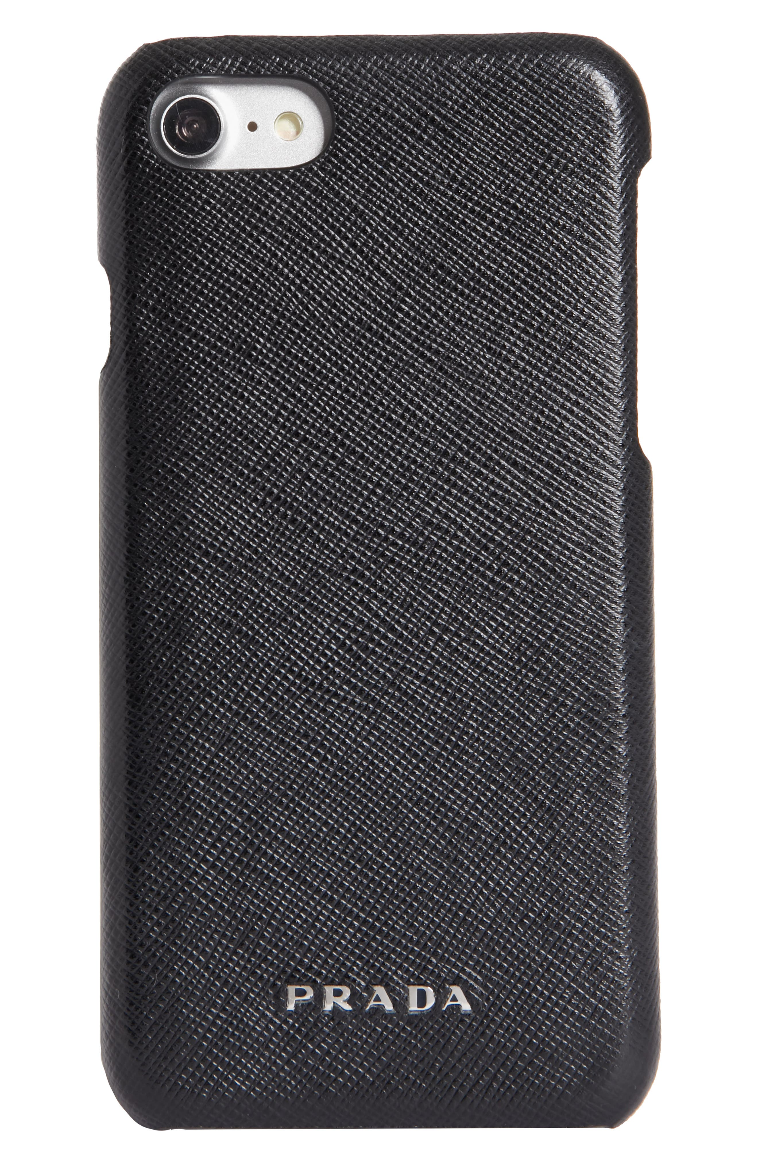 Saffiano Leather iPhone 6/6s/7/8 Case,                             Main thumbnail 1, color,                             NERO