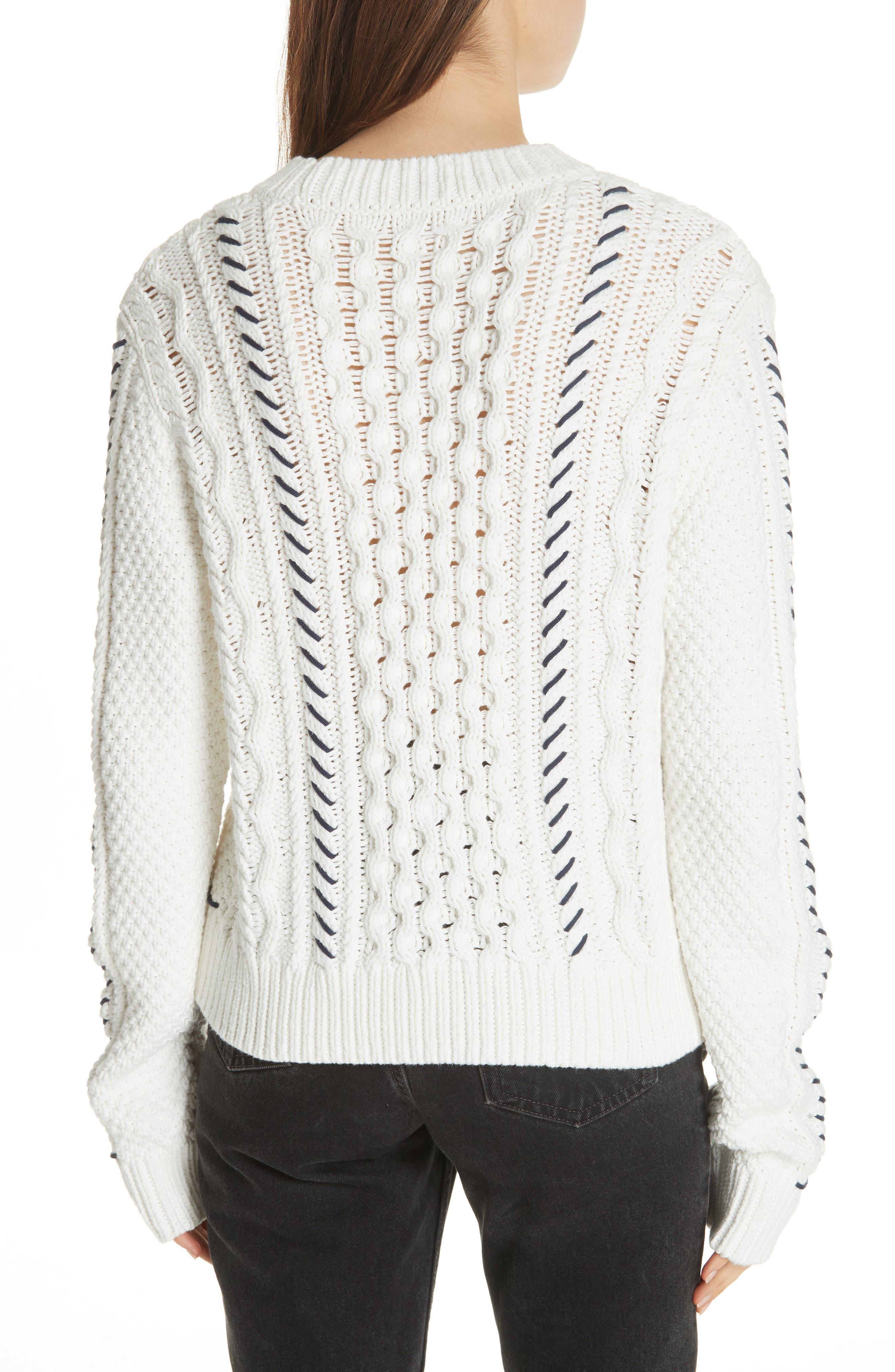 Cotton Fisherman Sweater,                             Alternate thumbnail 2, color,                             WHITE NAVY