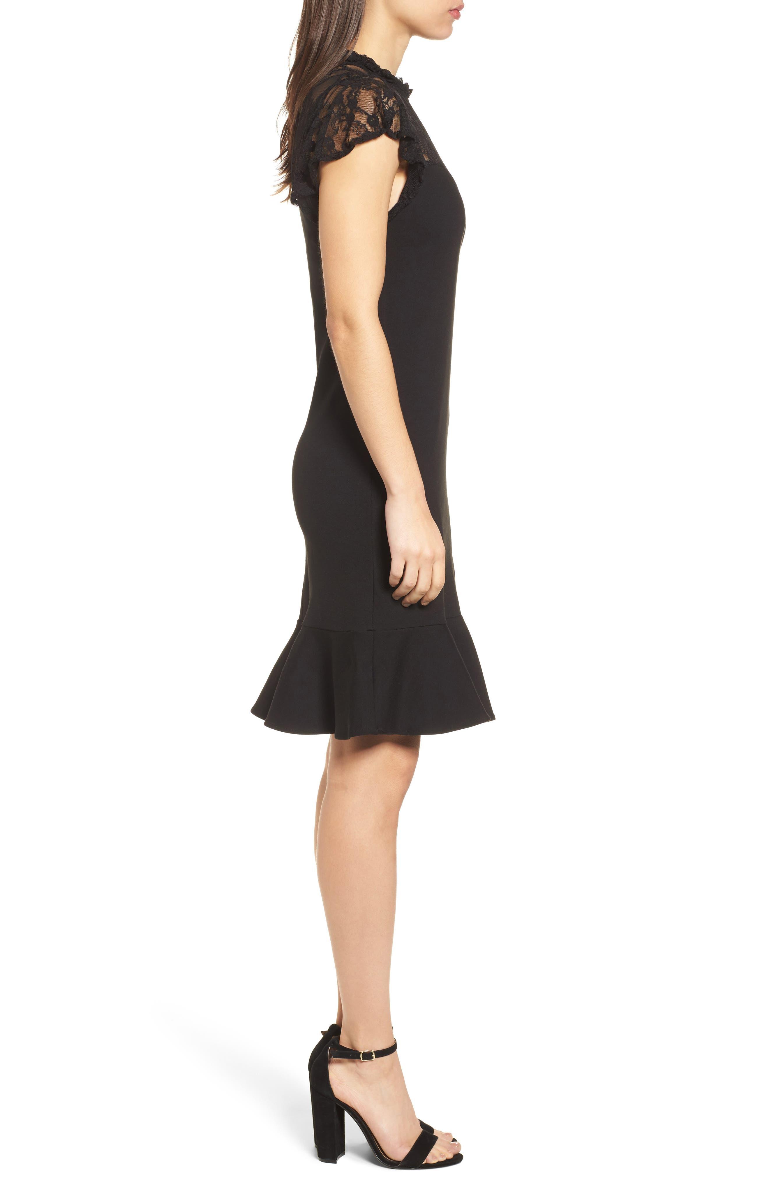 Lace Yoke Ruffled A-Line Dress,                             Alternate thumbnail 3, color,                             001