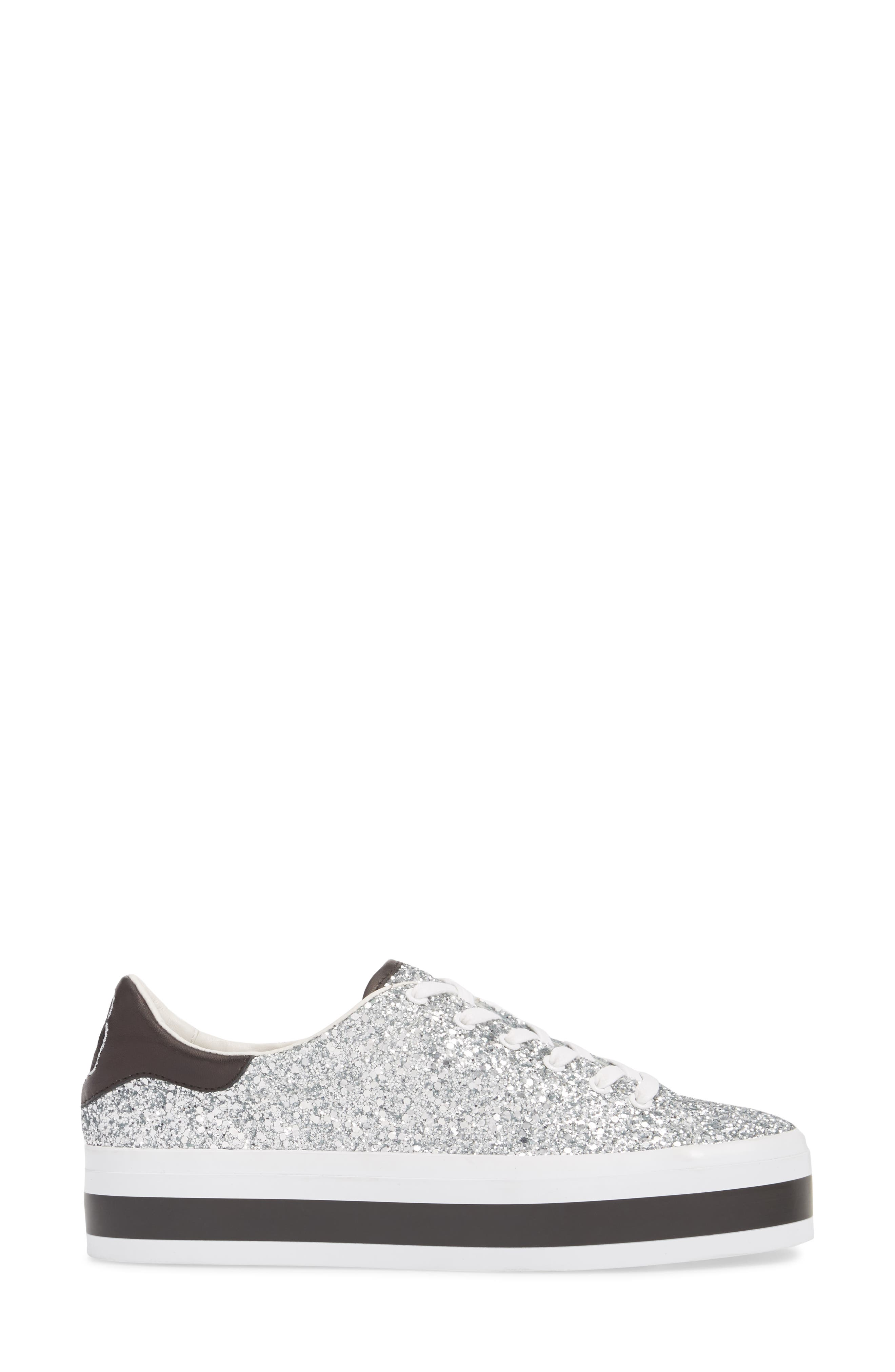 Ezra Flatform Sneaker,                             Alternate thumbnail 3, color,                             SILVER