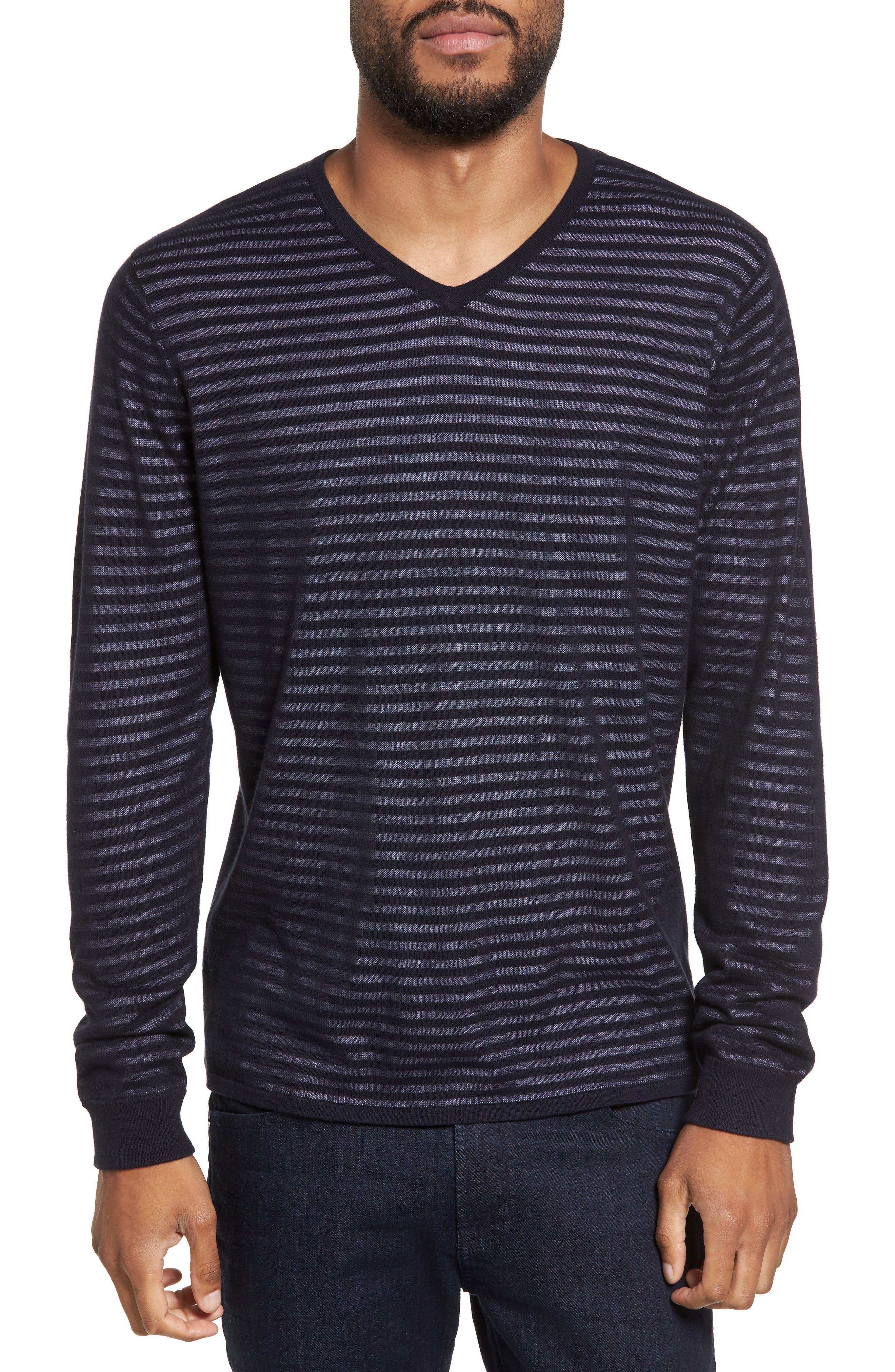 Stripe V-Neck Double Layer Sweater,                             Main thumbnail 1, color,
