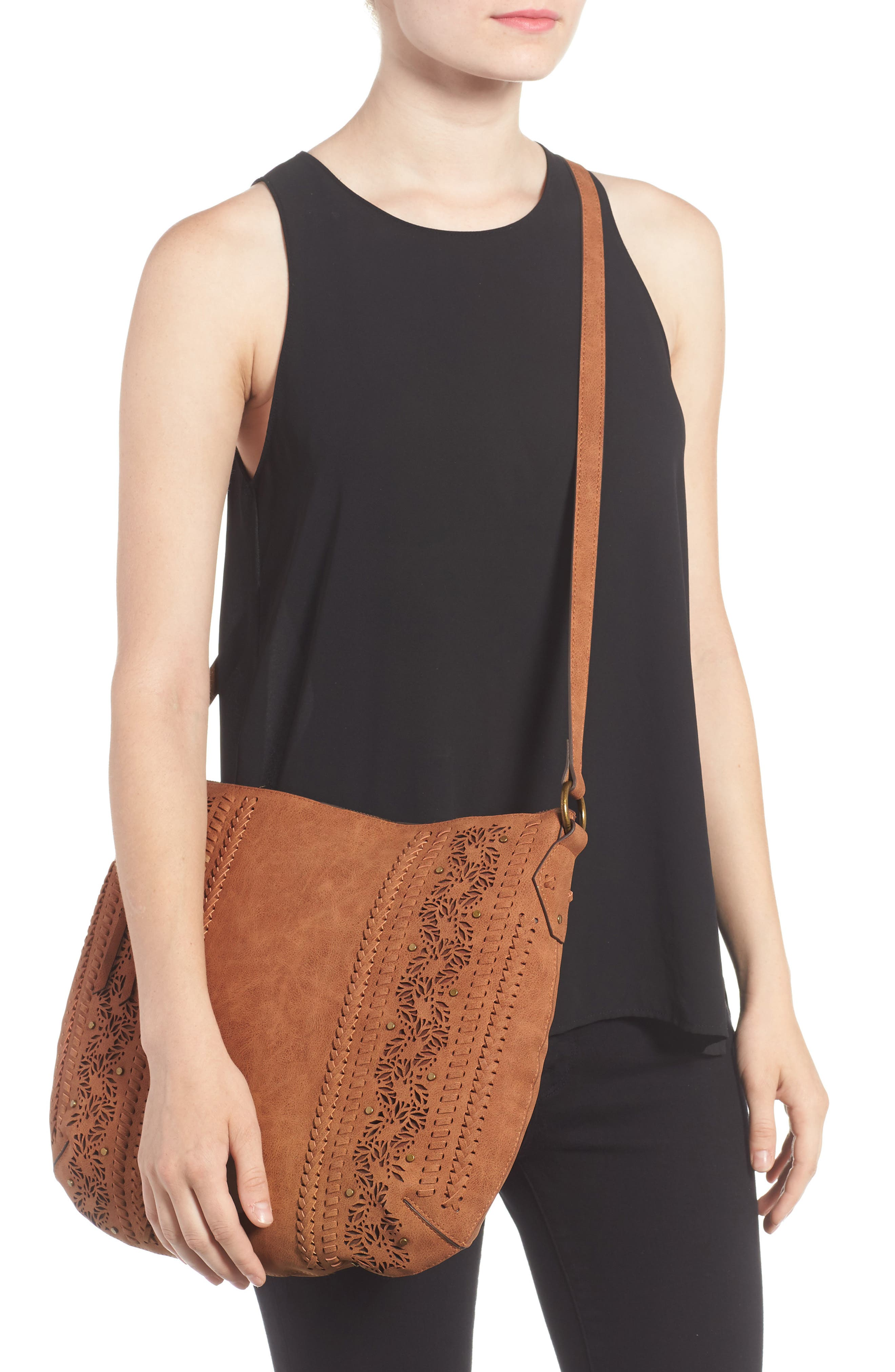 Palomina Faux Leather Crossbody Hobo,                             Alternate thumbnail 5, color,