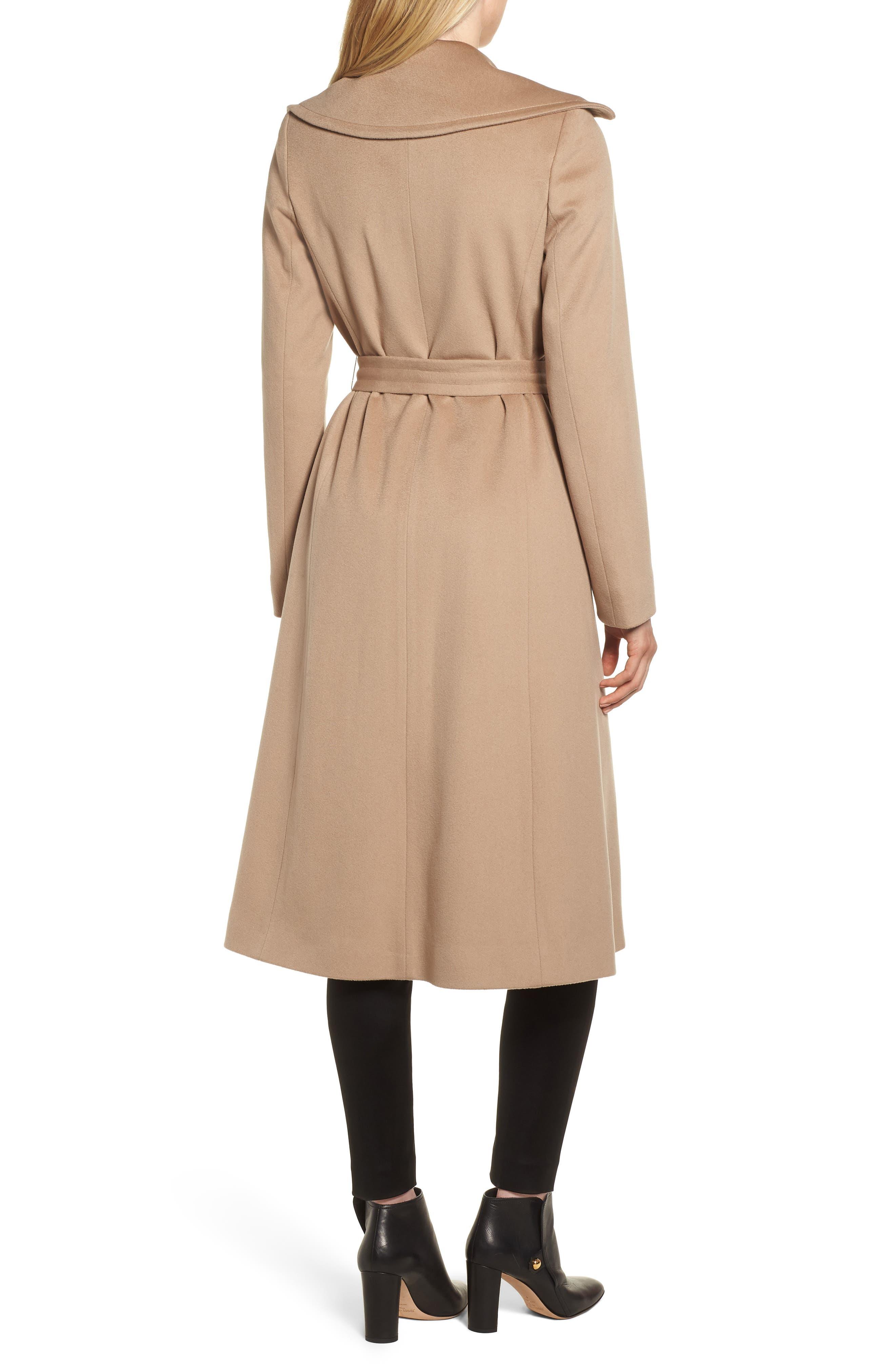 FLEURETTE,                             Loro Piana Wool Wrap Coat,                             Alternate thumbnail 2, color,                             CAMEL