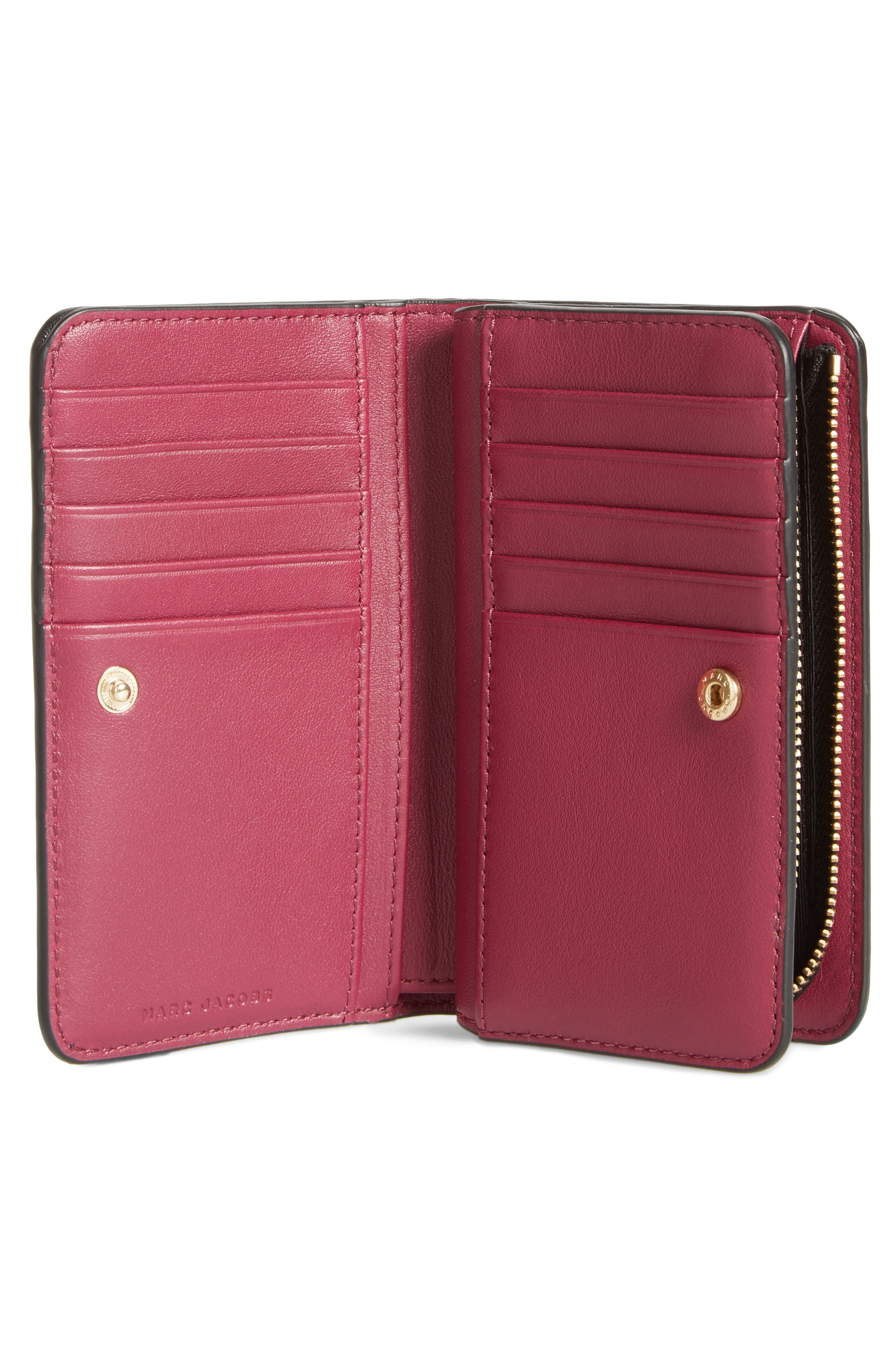 Saffiano Leather Compact Wallet,                             Alternate thumbnail 4, color,                             001