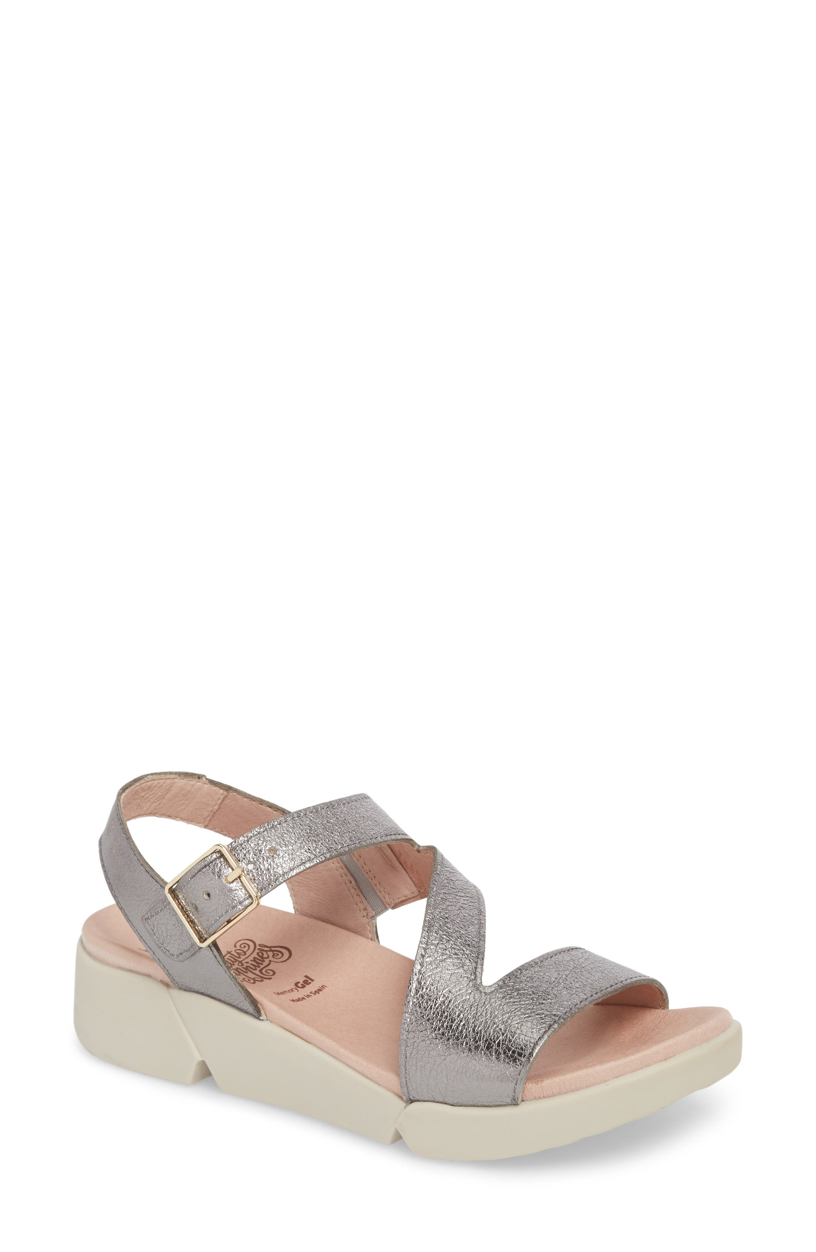 Wonders Platform Wedge Sandal, Grey