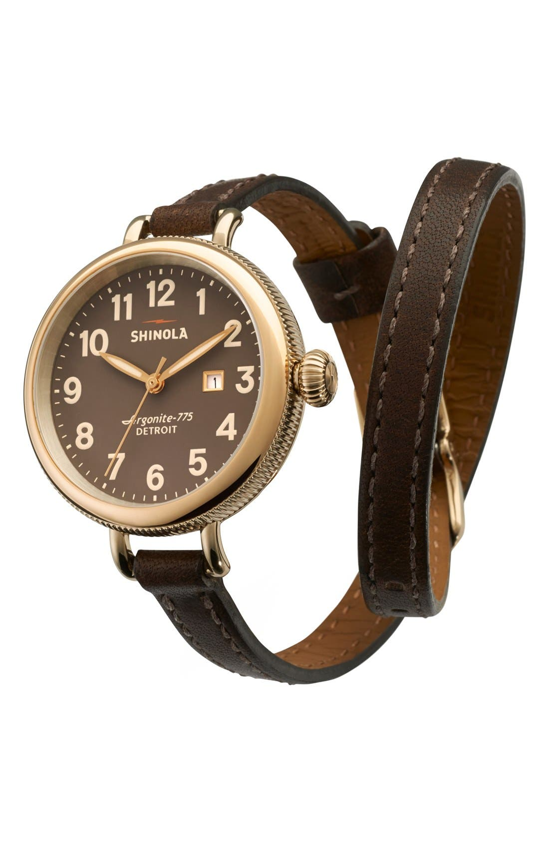 'The Birdy' Double Wrap Leather Strap Watch, 34mm,                             Alternate thumbnail 56, color,