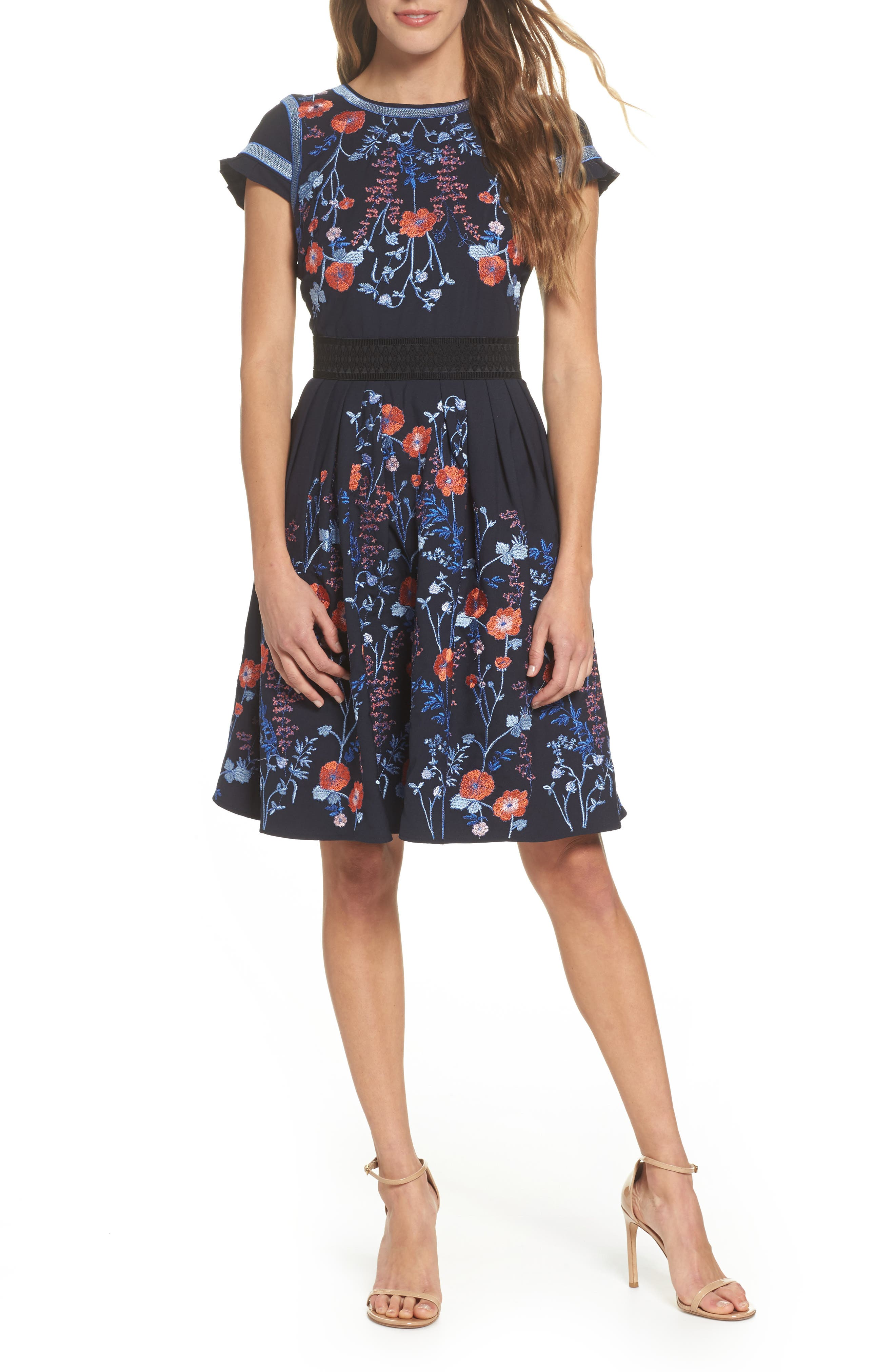 Senna Embroidered Fit & Flare Dress,                         Main,                         color, 400