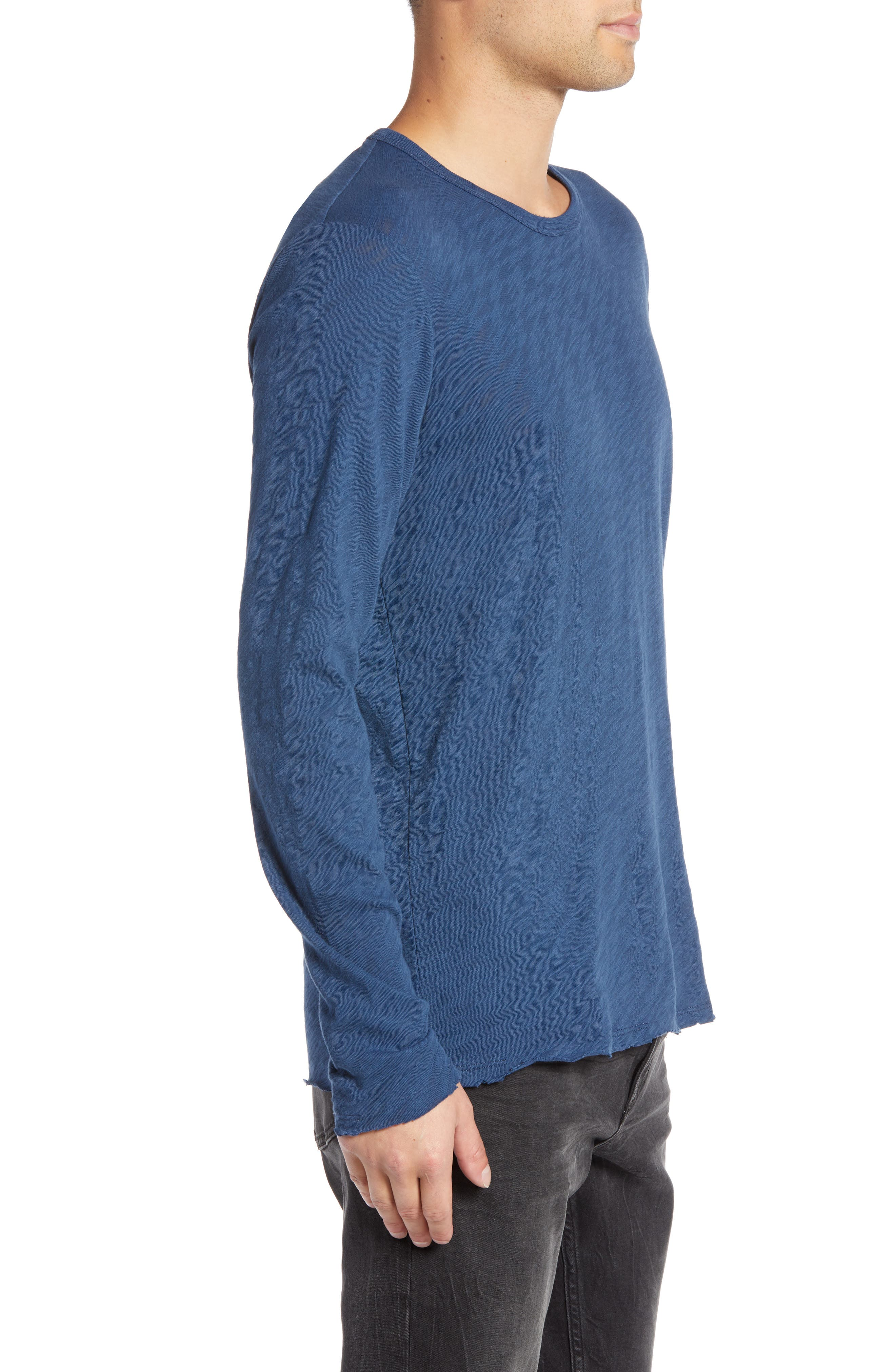 Destroyed Long Sleeve T-Shirt,                             Alternate thumbnail 3, color,                             DEEP OCEAN