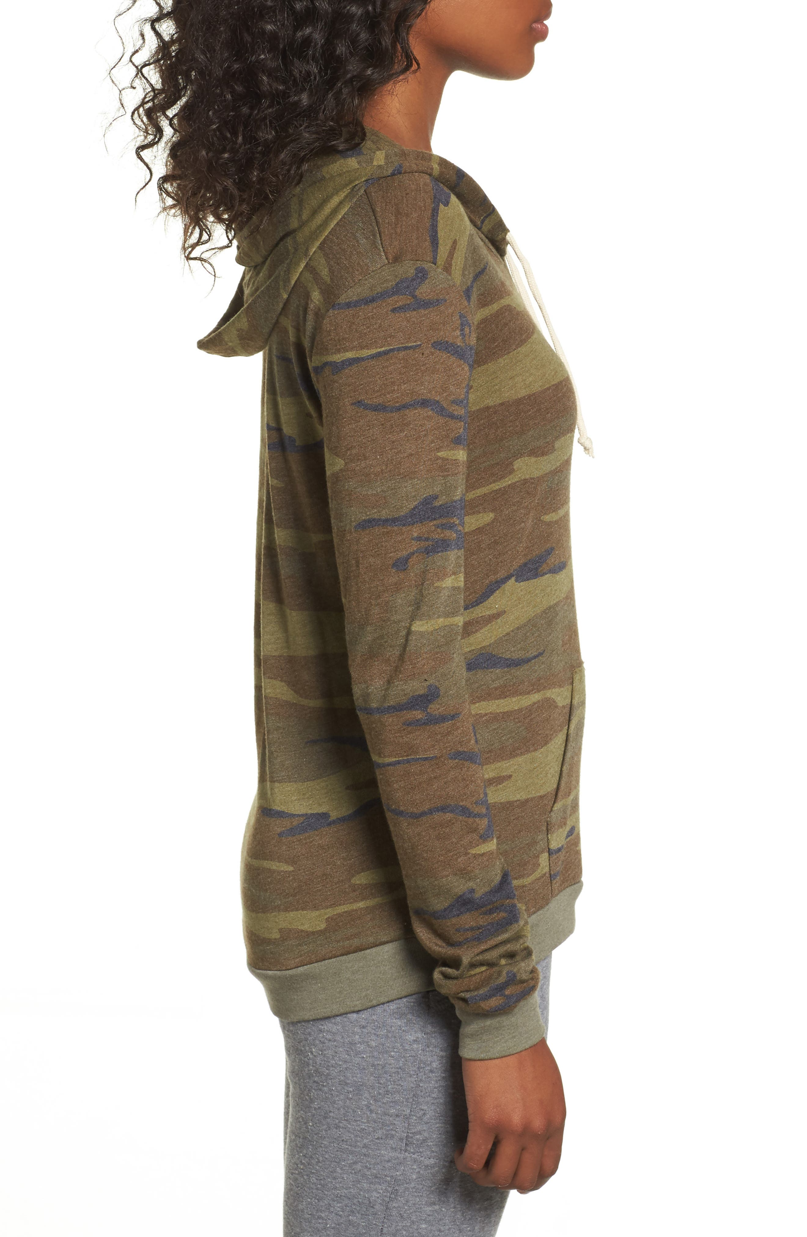 Camo Print Pullover Hoodie,                             Alternate thumbnail 3, color,                             300