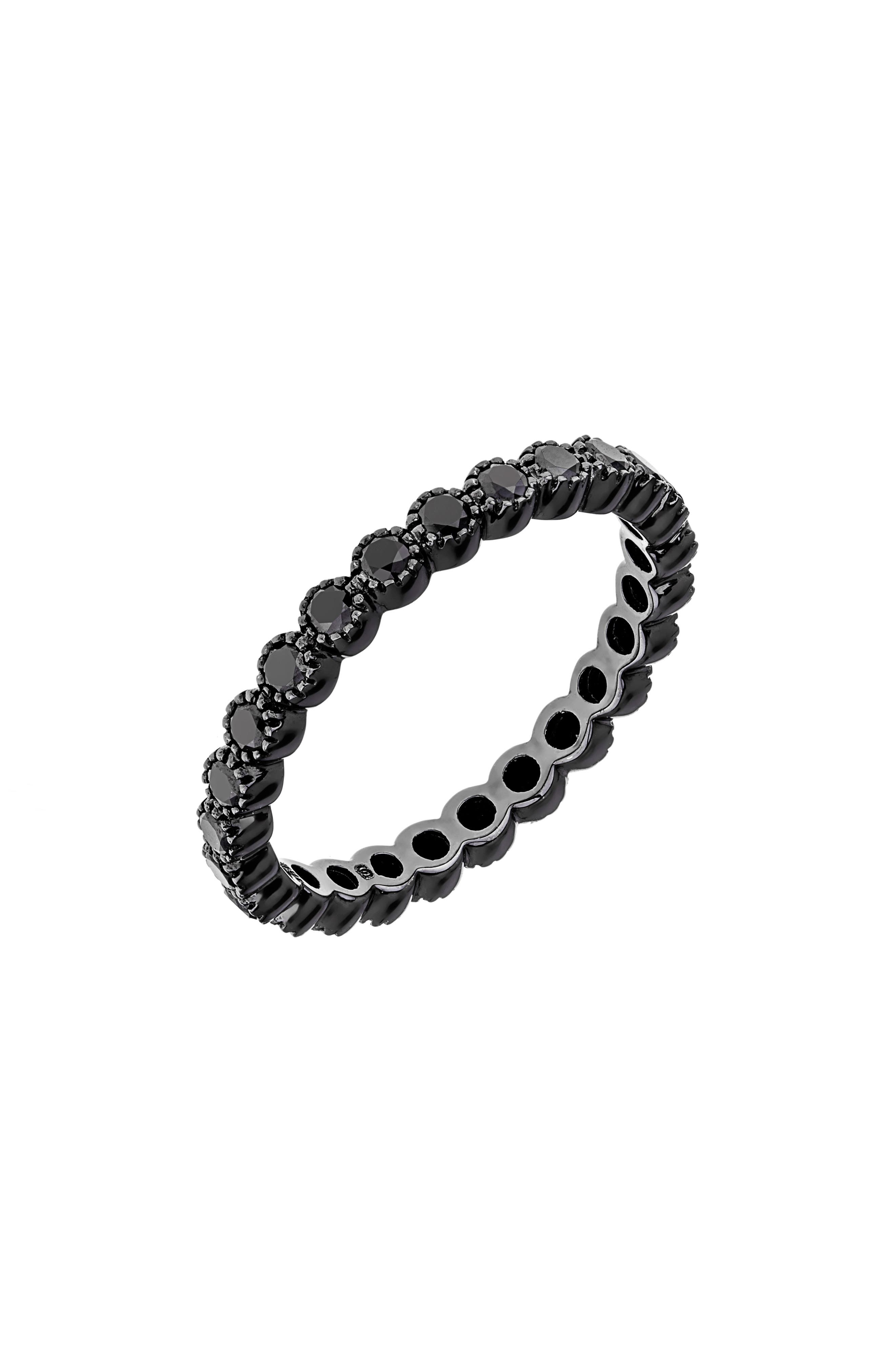 Black Diamond Bezel Band Ring,                             Main thumbnail 1, color,                             BLACK RHODIUM/ BLACK DIAMOND