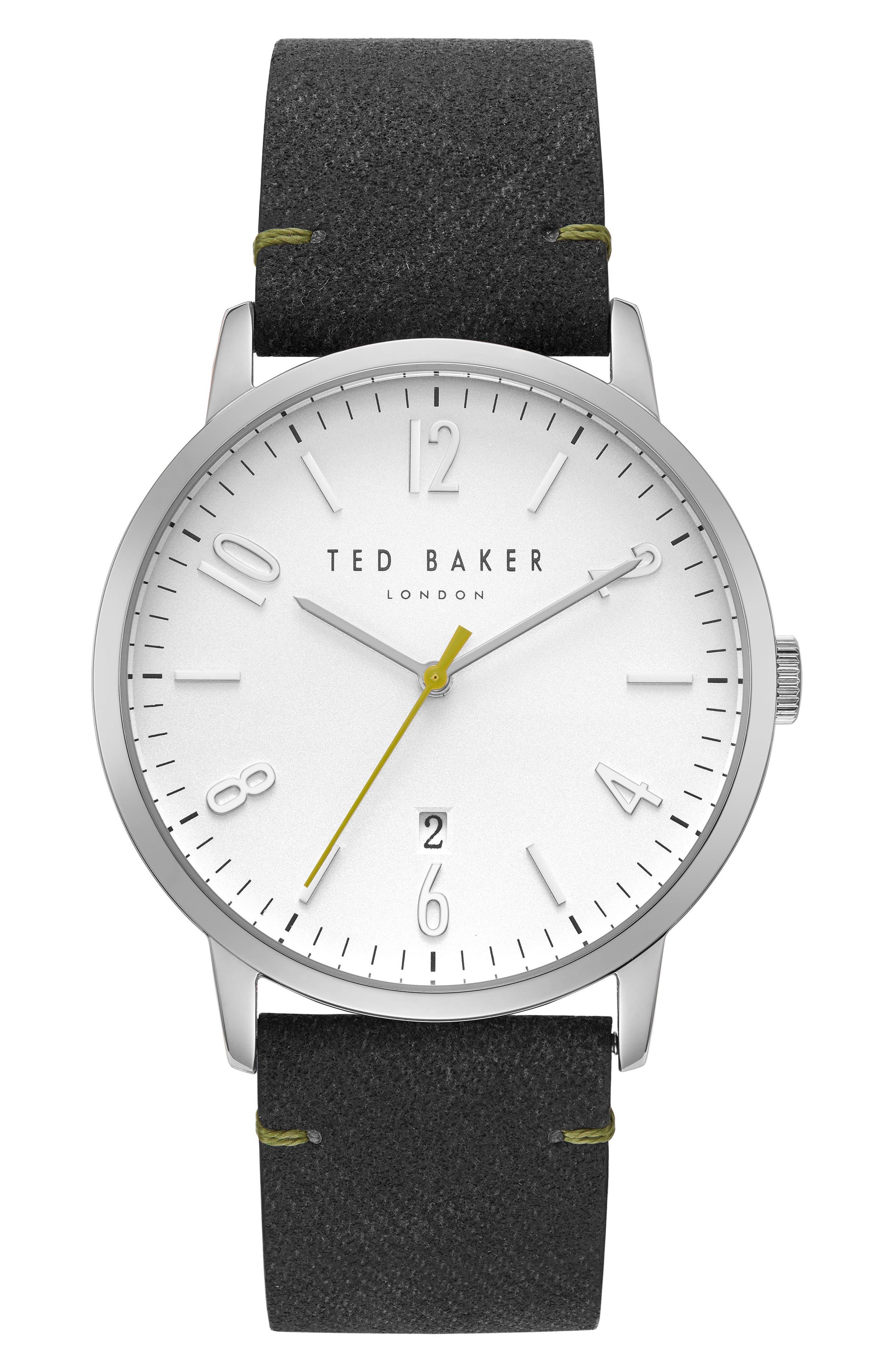 Daniel Synthetic Strap Watch, 42mm,                             Main thumbnail 1, color,                             WHITE/ BLACK