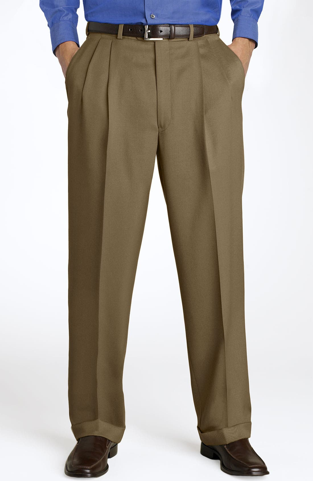 Pleated Super 100s Worsted Wool Trousers,                             Main thumbnail 10, color,
