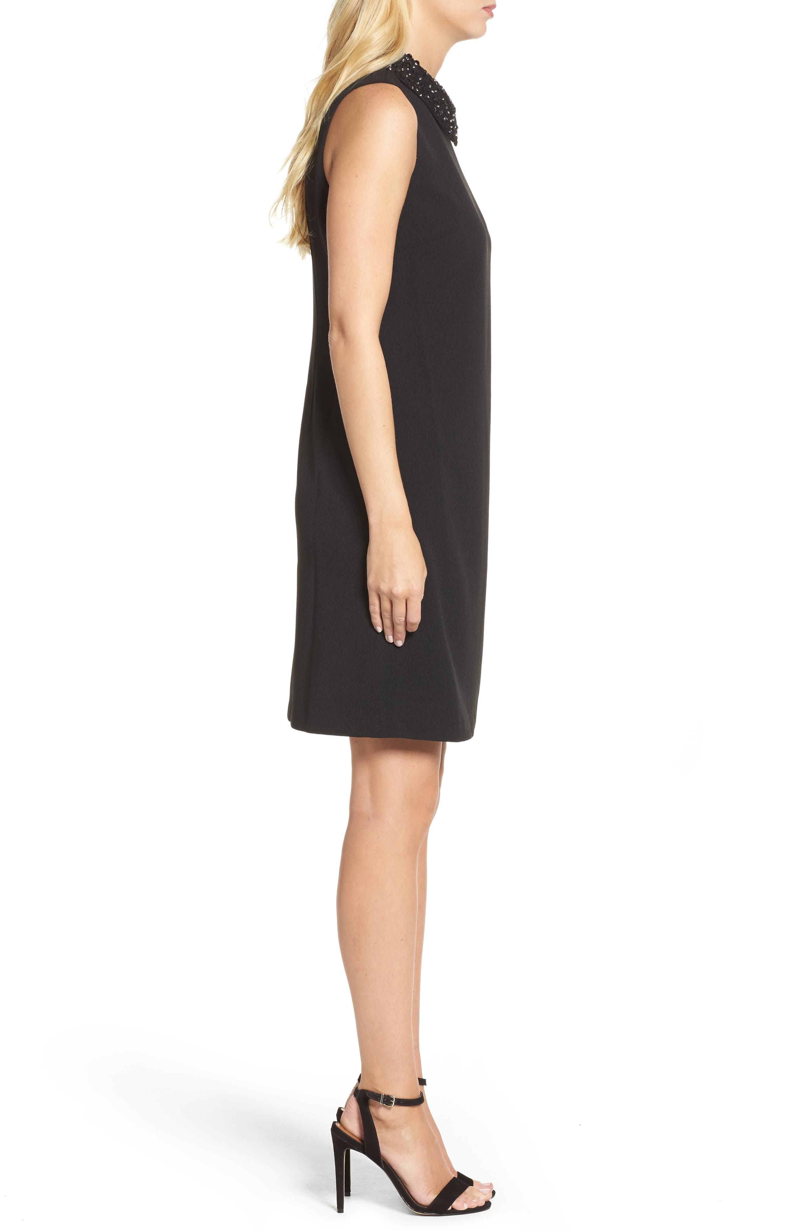 Jeweled Collar A-Line Dress,                             Alternate thumbnail 3, color,                             001