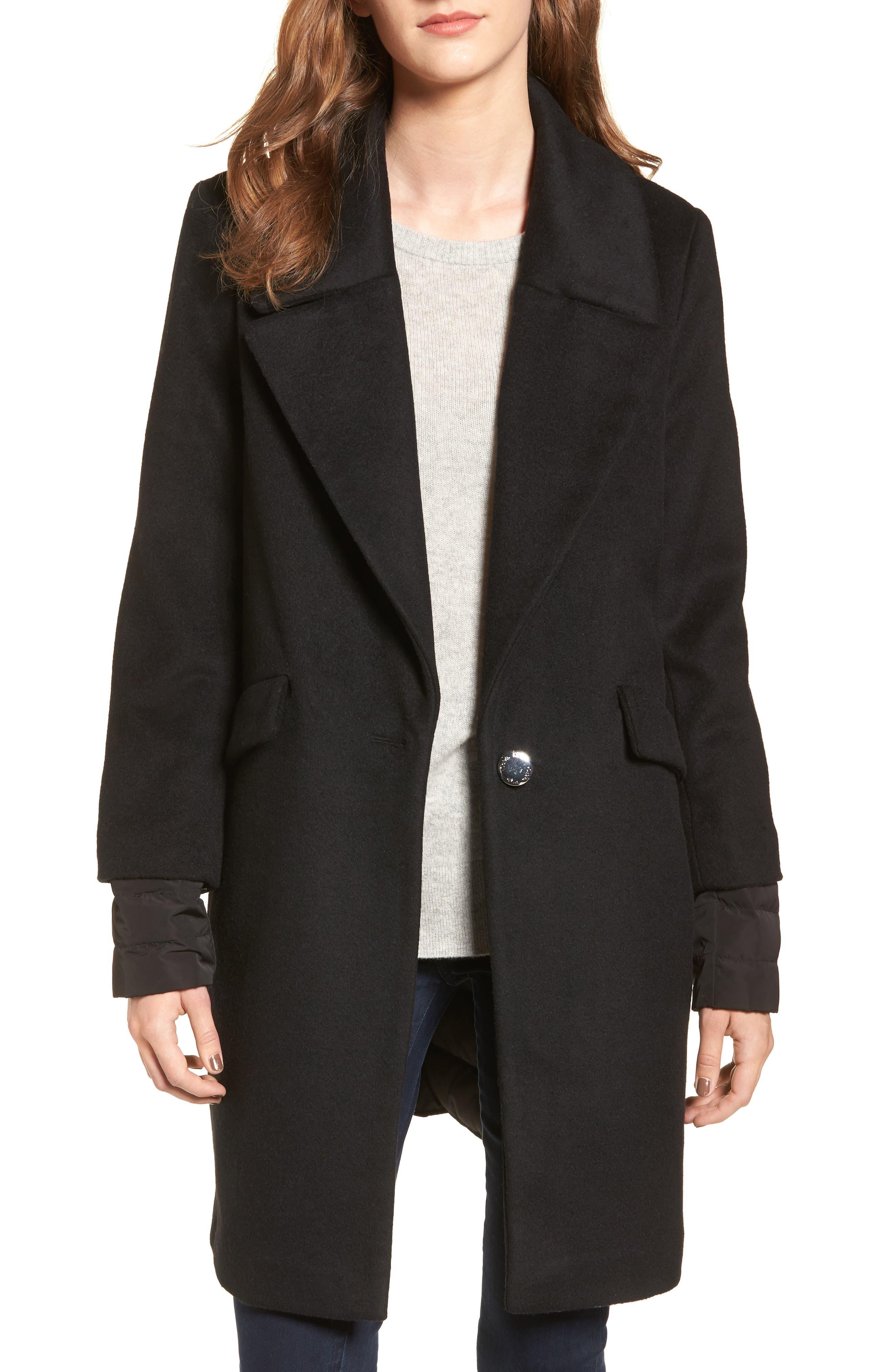 Wool & Down Reefer Coat,                             Main thumbnail 1, color,                             001