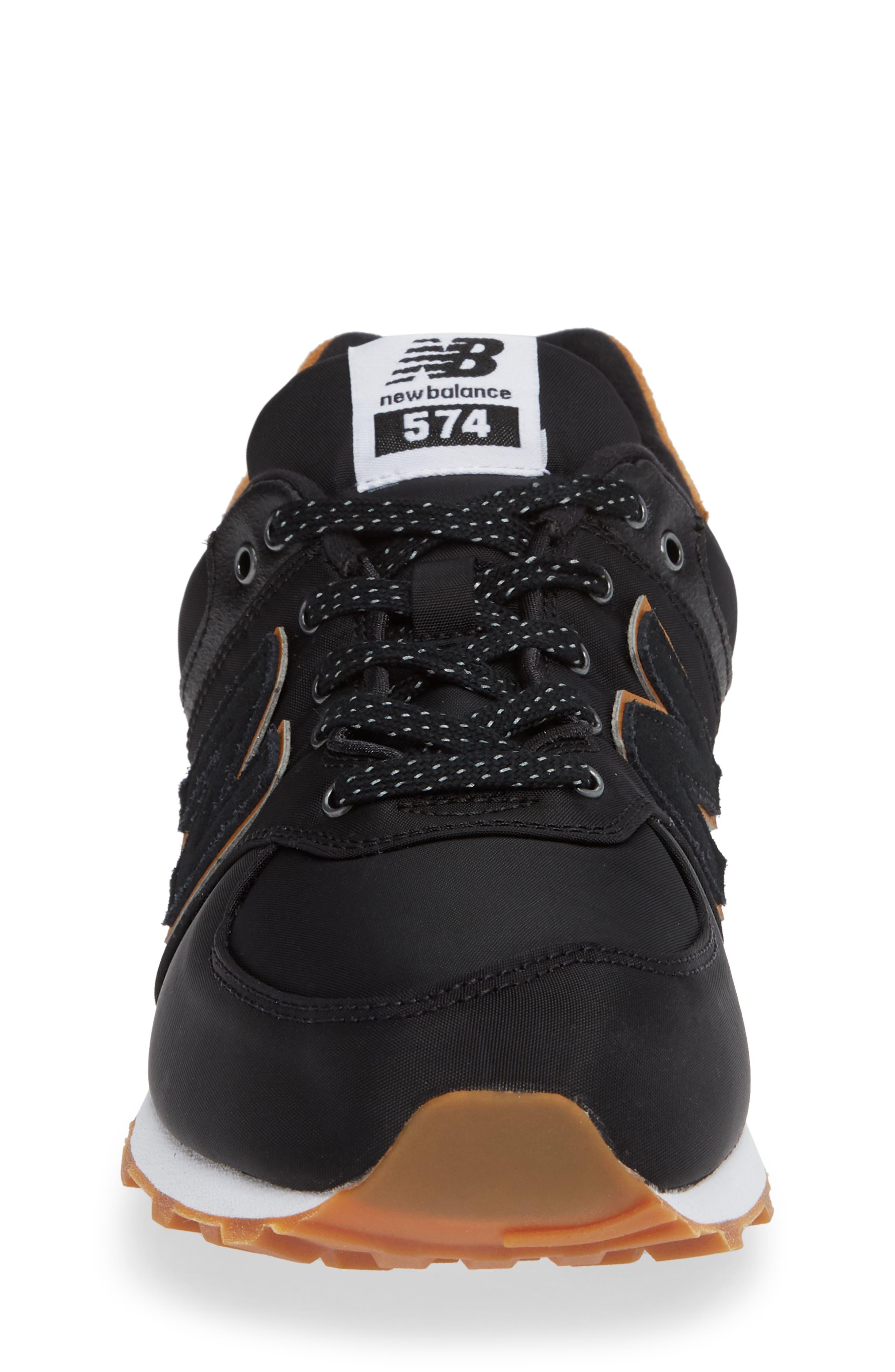 574 Essentials Sneaker,                             Alternate thumbnail 4, color,                             BLACK/ WHITE