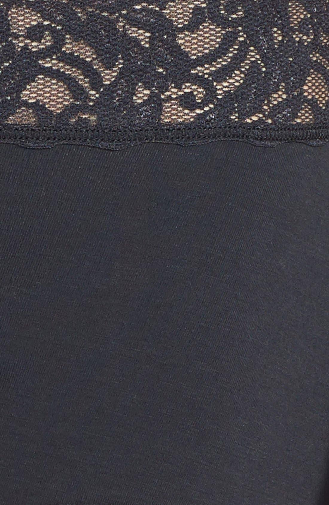 'Cotton Suede' Lace Trim Briefs,                             Alternate thumbnail 3, color,                             BLACK
