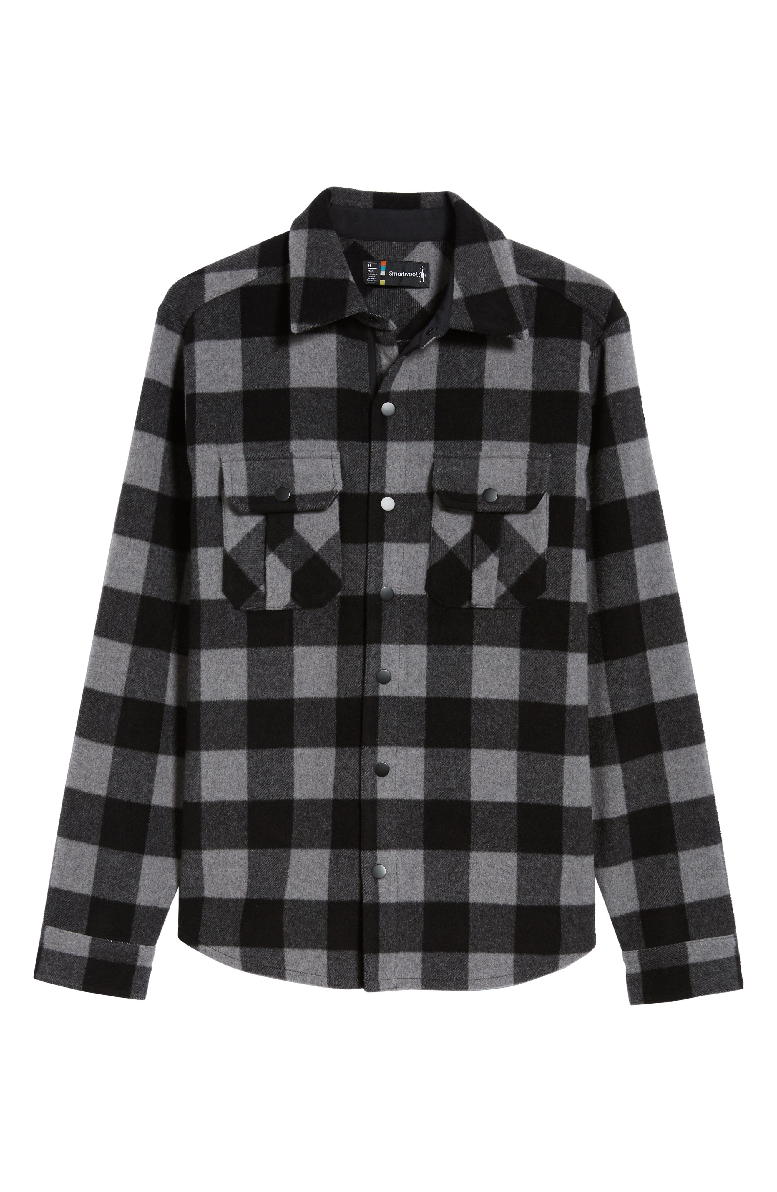 Anchor Line Flannel Shirt Jacket,                             Alternate thumbnail 5, color,                             MEDIUM GREY
