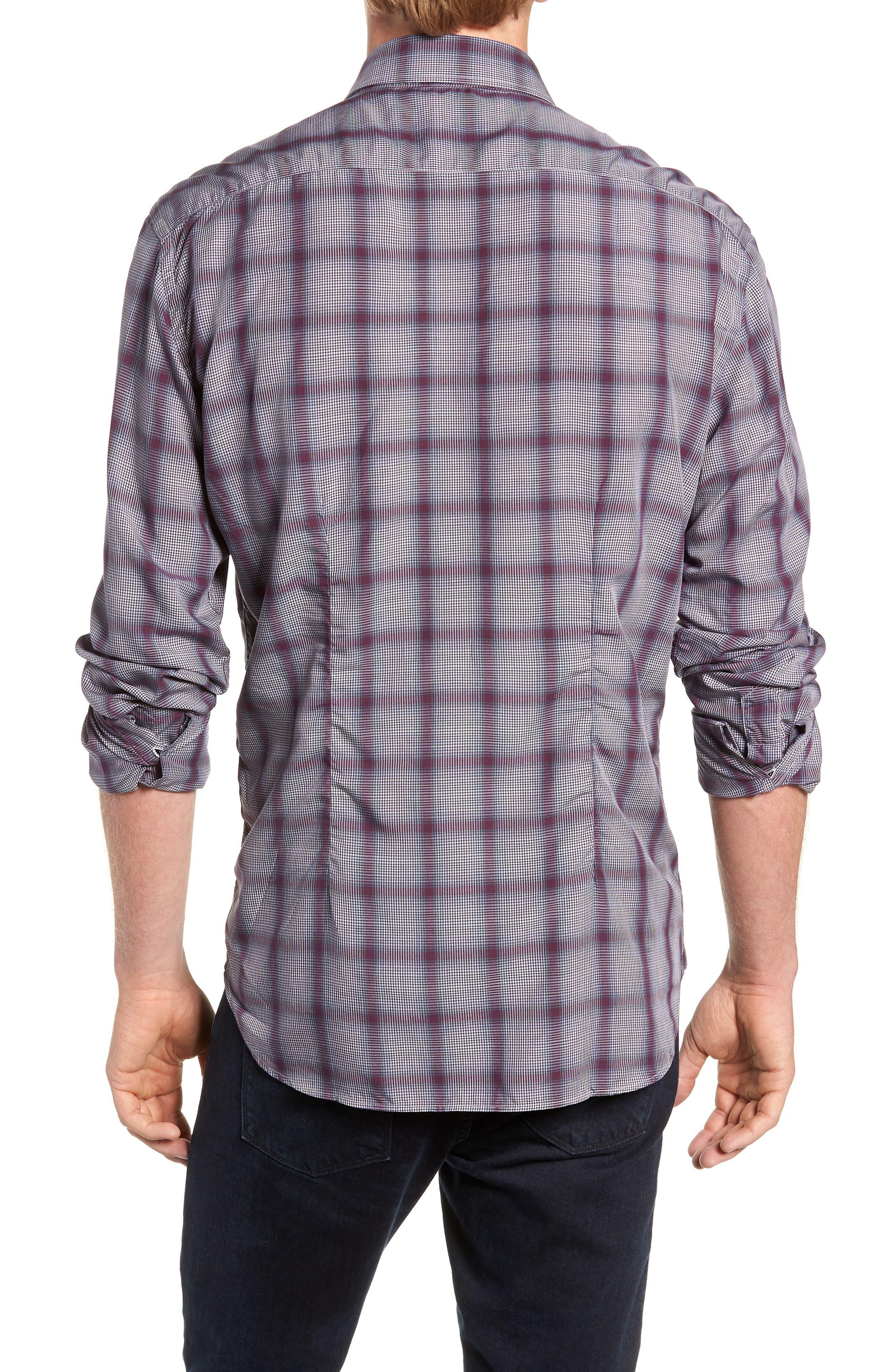 Tailored Fit Plaid Sport Shirt,                             Alternate thumbnail 3, color,                             600