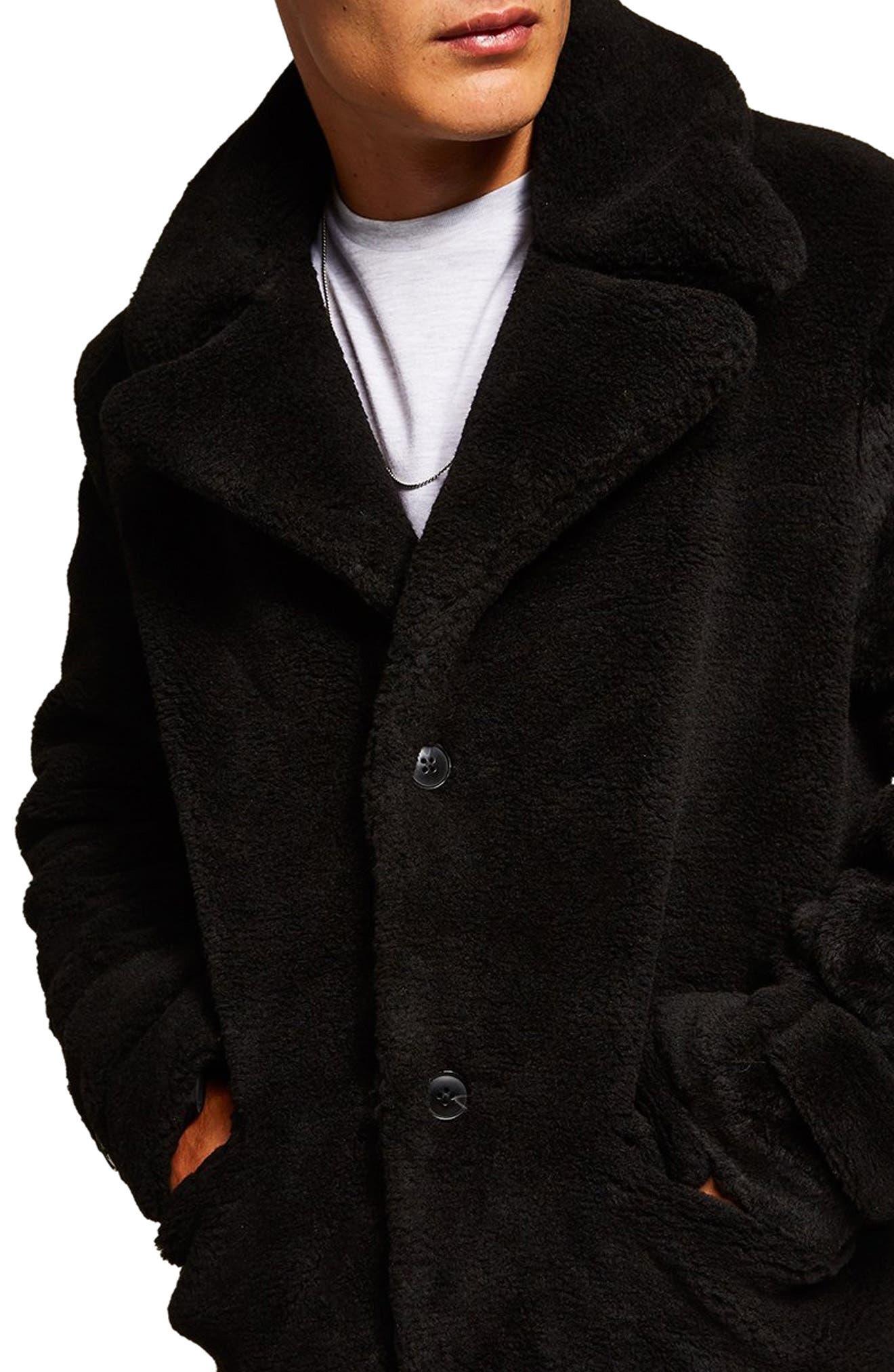 Faux Fur Coat,                             Alternate thumbnail 3, color,                             BLACK
