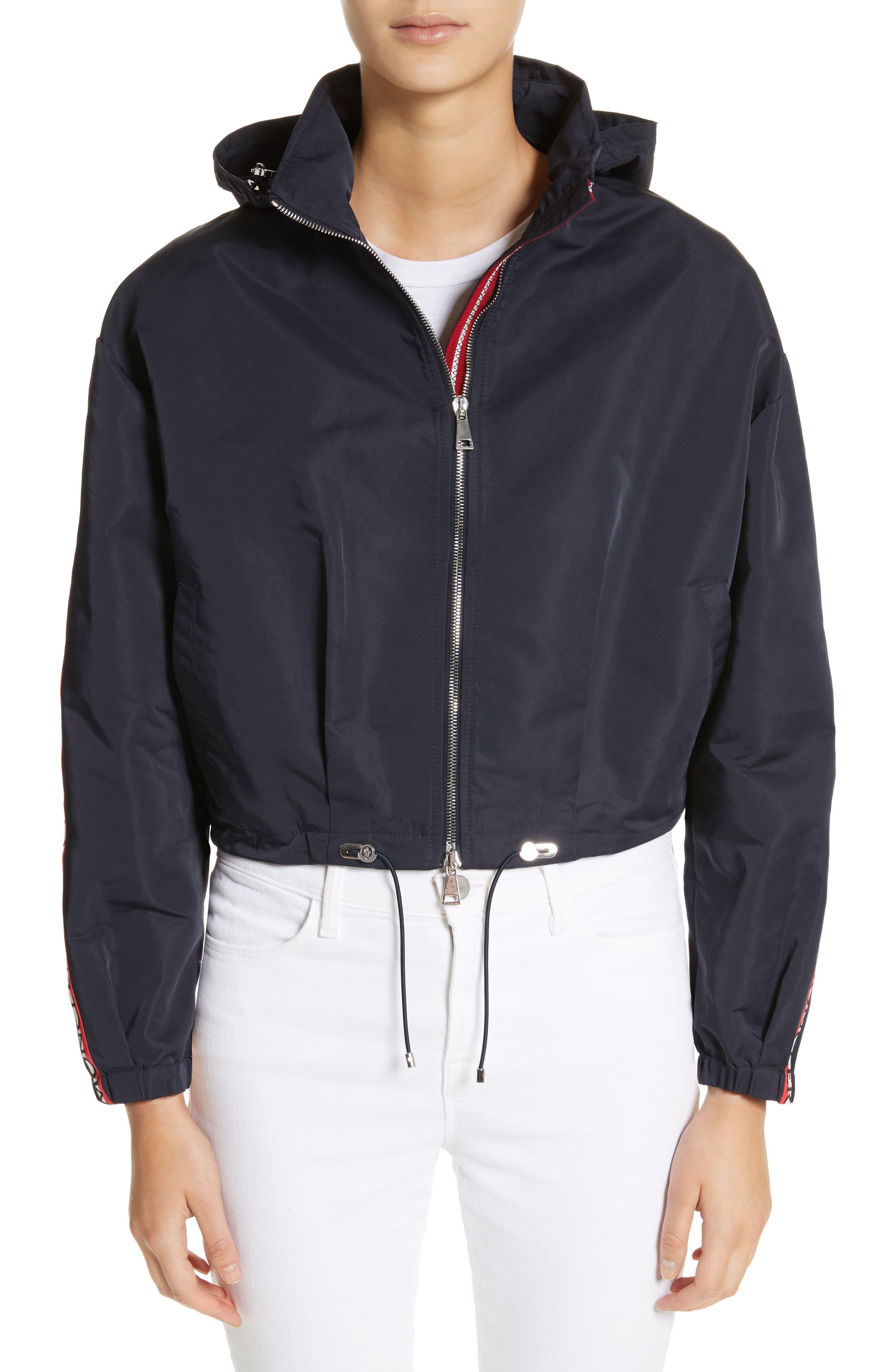 Zirconite Crop Hooded Coat,                         Main,                         color, NAVY
