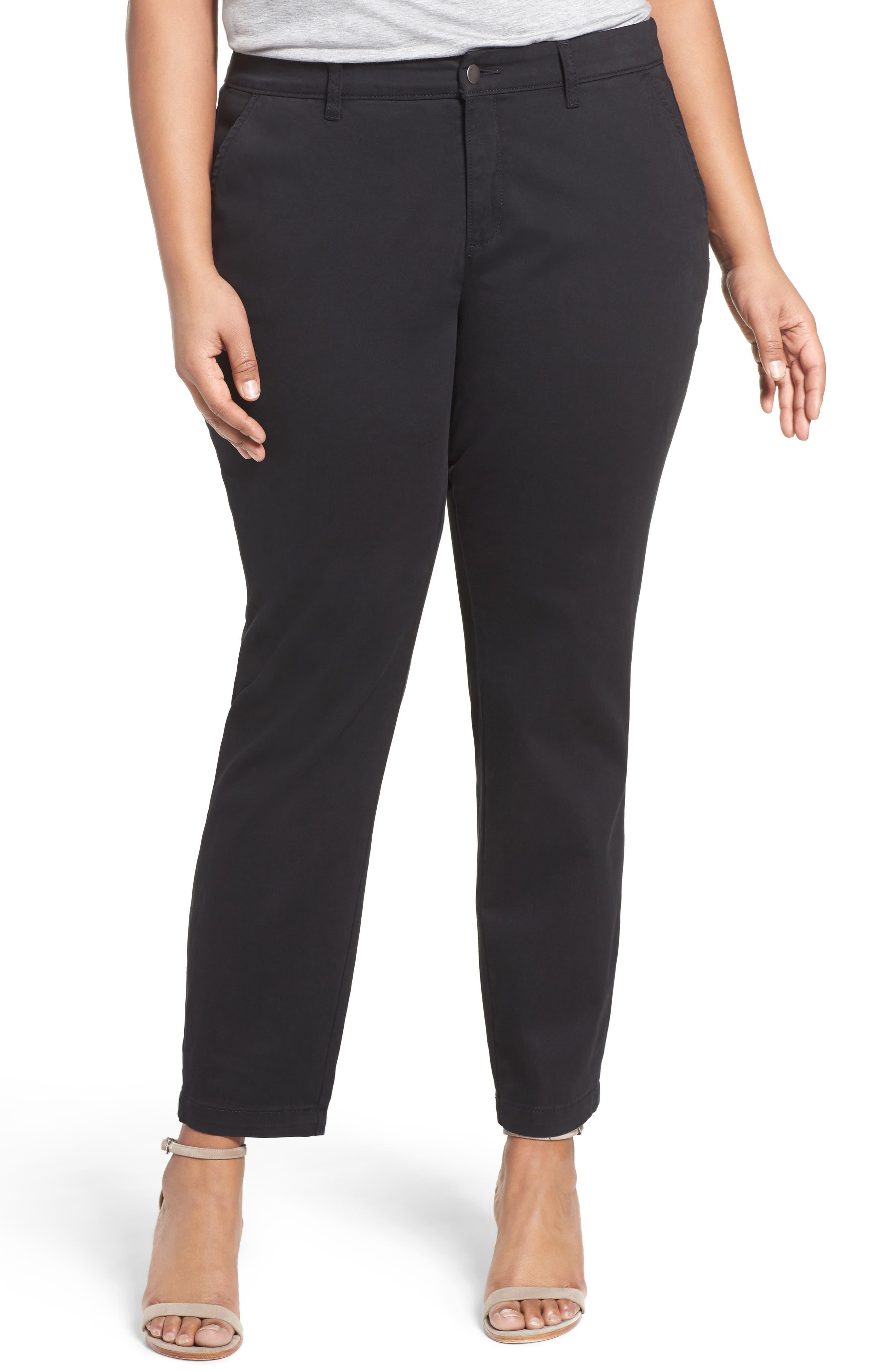 Stretch Cotton Ankle Pants,                             Main thumbnail 1, color,                             001