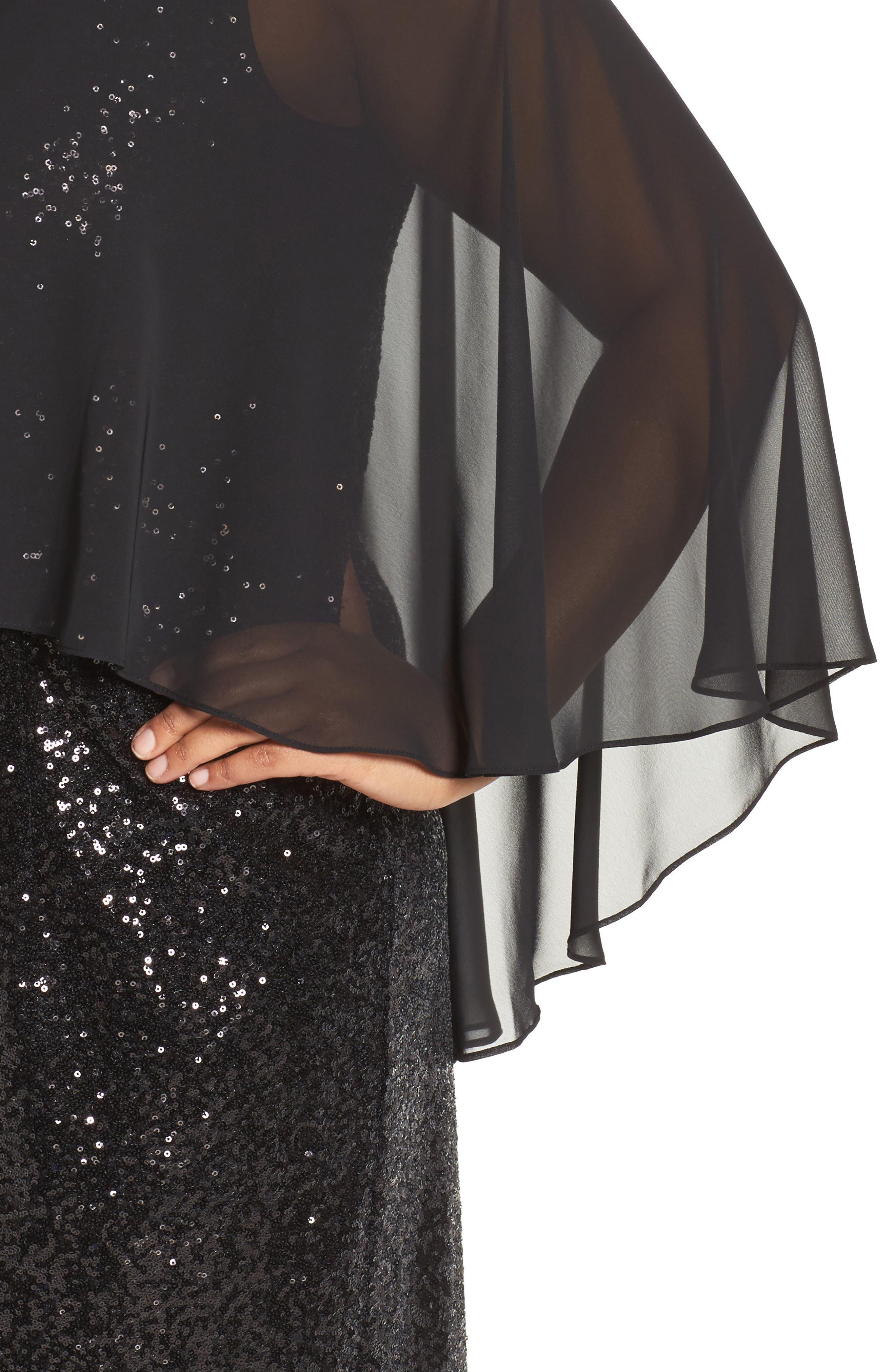 Capelet Sequin Shift Dress,                             Alternate thumbnail 4, color,                             001