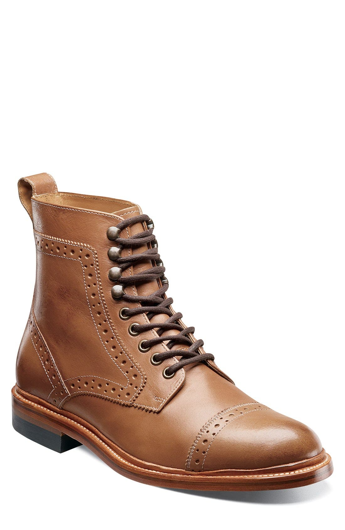 Madison II Cap Toe Boot,                         Main,                         color, TAN SMOOTH