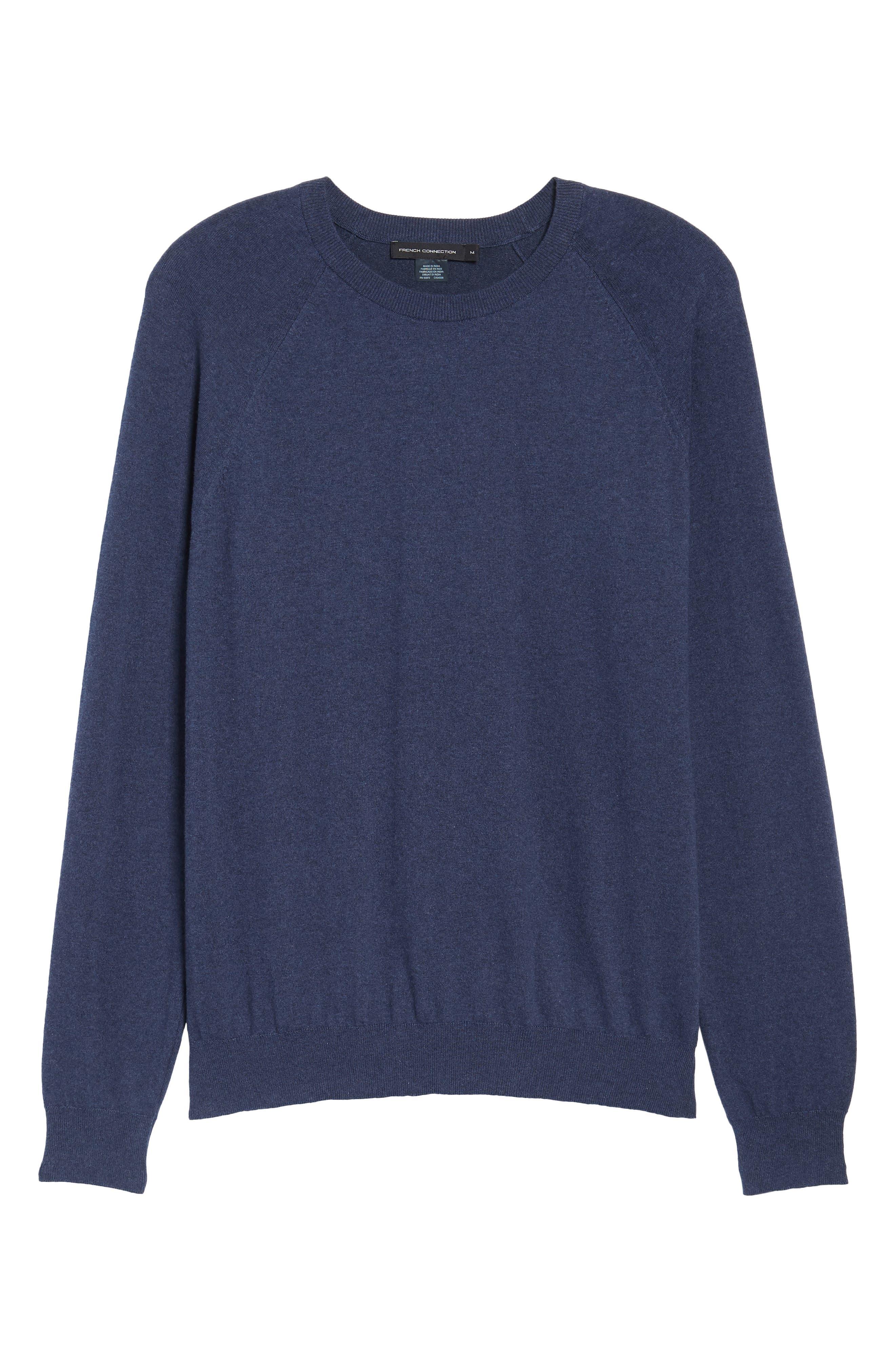Regular Fit Stretch Cotton Sweater,                             Alternate thumbnail 6, color,                             INDIGO MELANGE