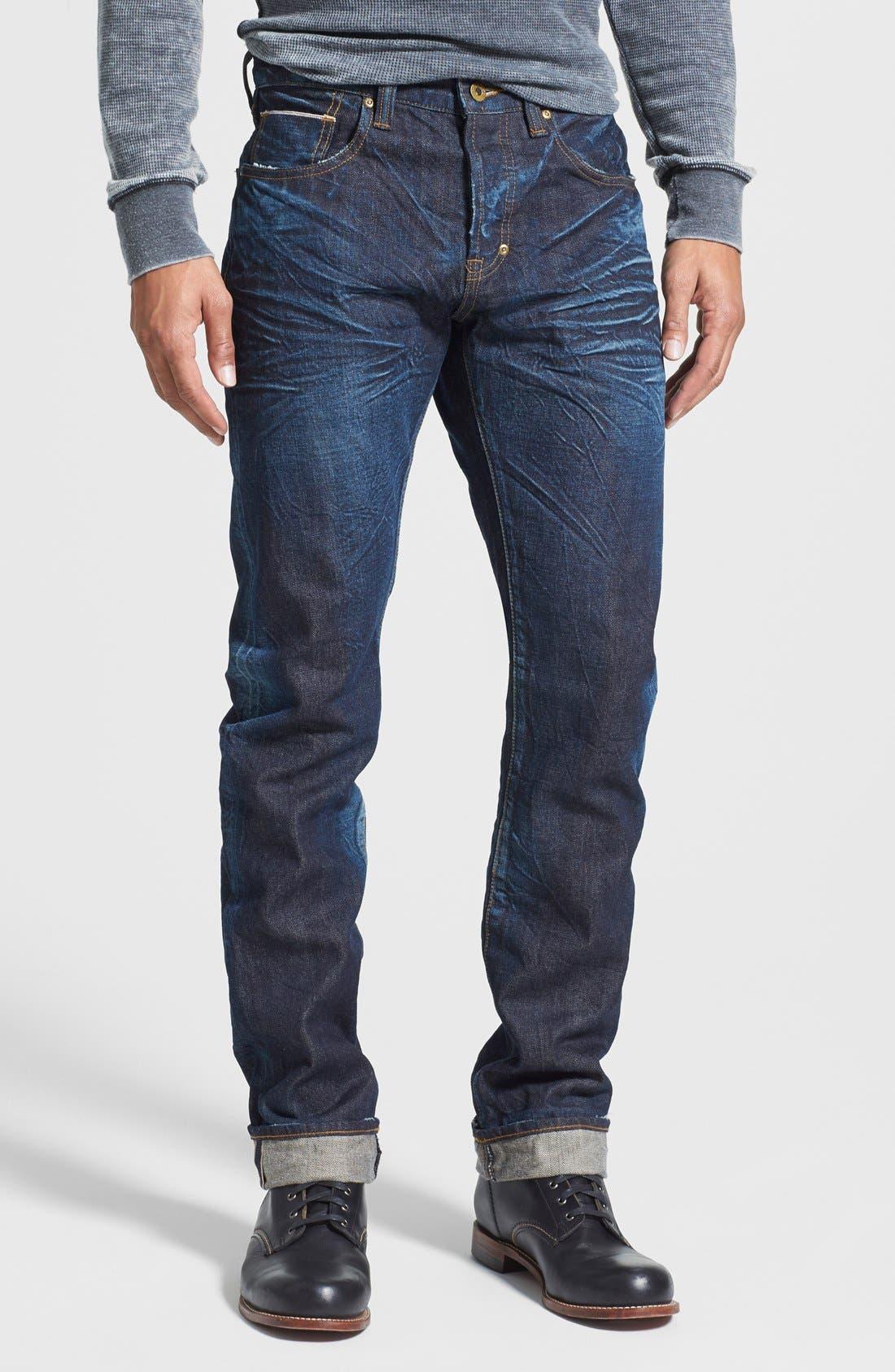 'Demon' Slim Straight Leg Selvedge Jeans,                             Main thumbnail 1, color,                             488