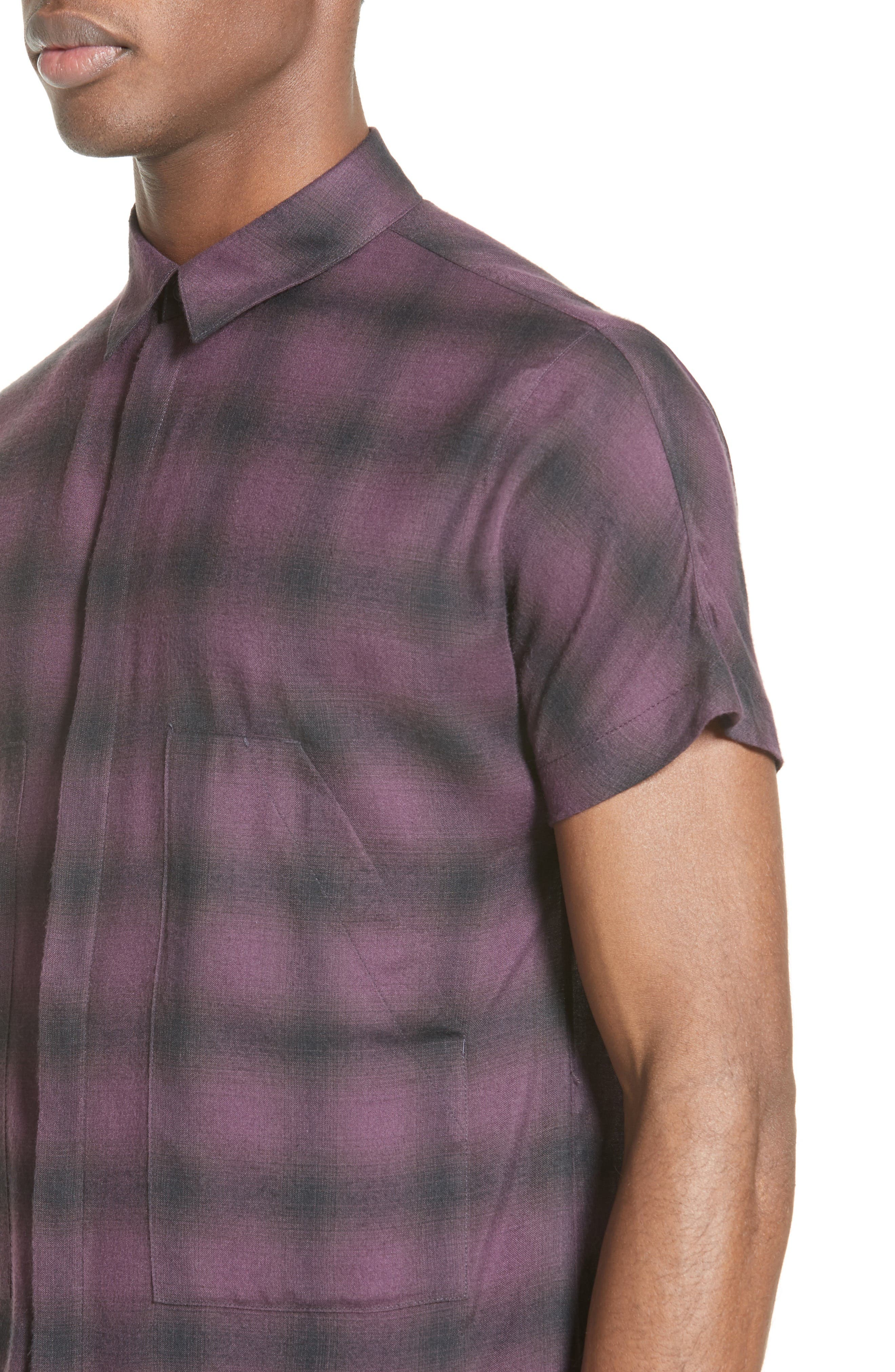 Ombré Check Short Sleeve Sport Shirt,                             Alternate thumbnail 4, color,                             523