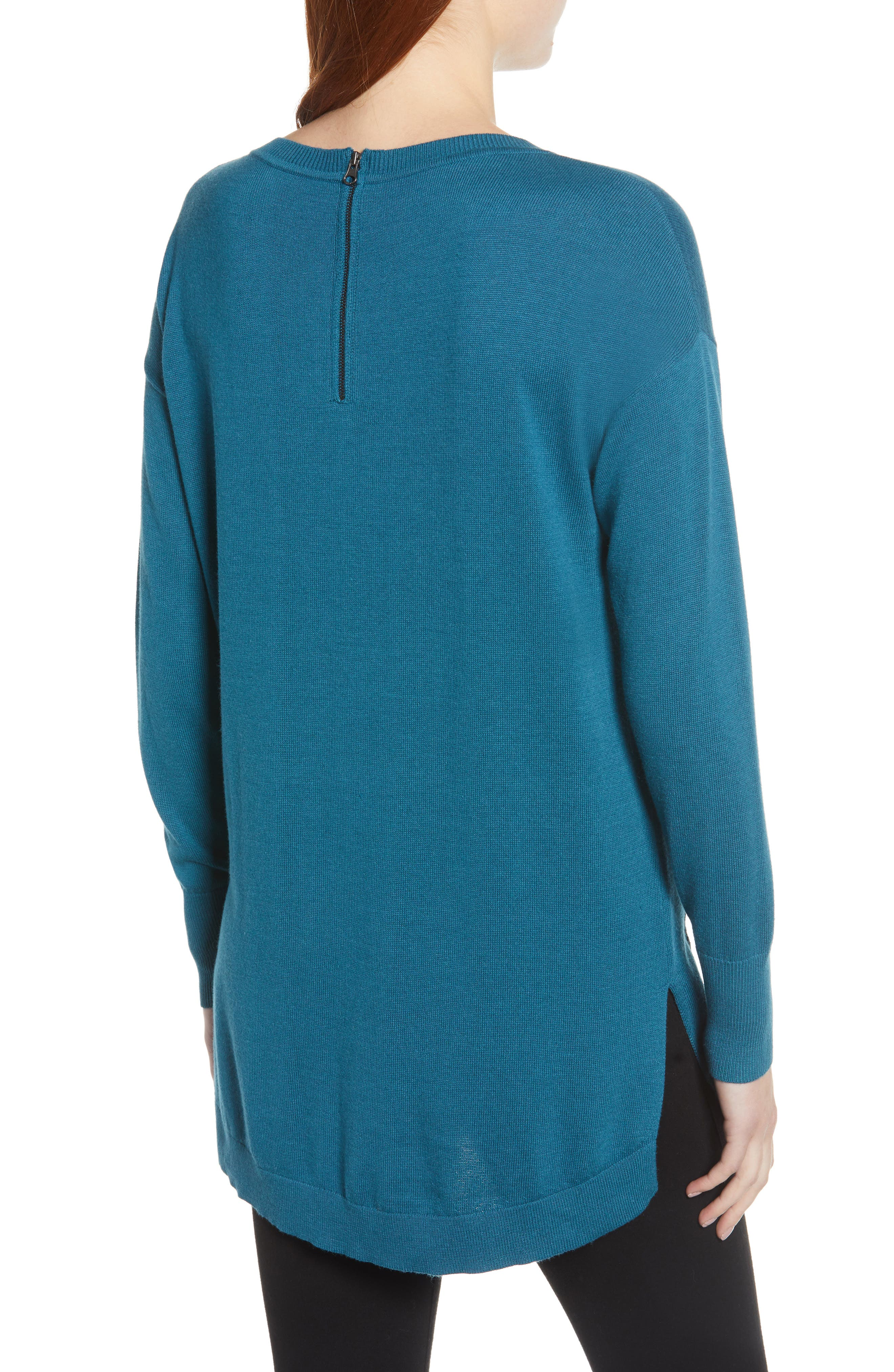 Zip Back High/Low Tunic Sweater,                             Alternate thumbnail 2, color,                             TEAL CORAL