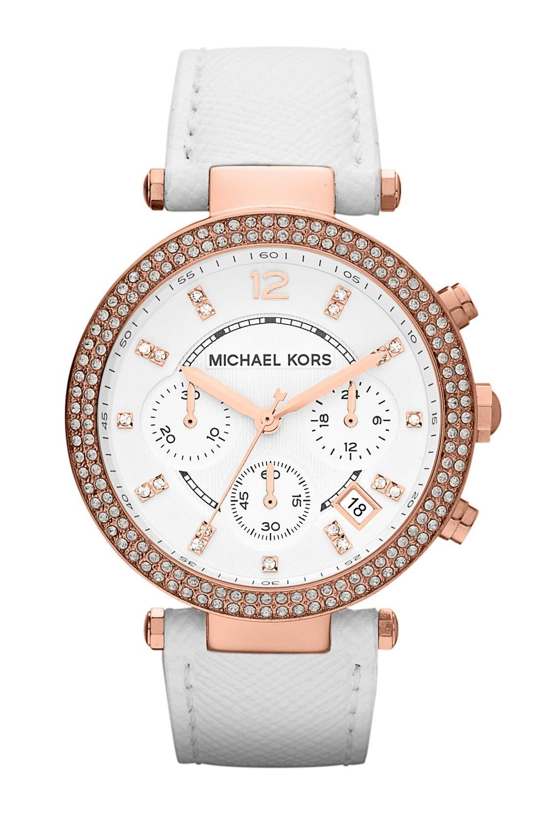 Michael Kors 'Parker' Chronograph Leather Watch, 39mm,                             Main thumbnail 1, color,                             100