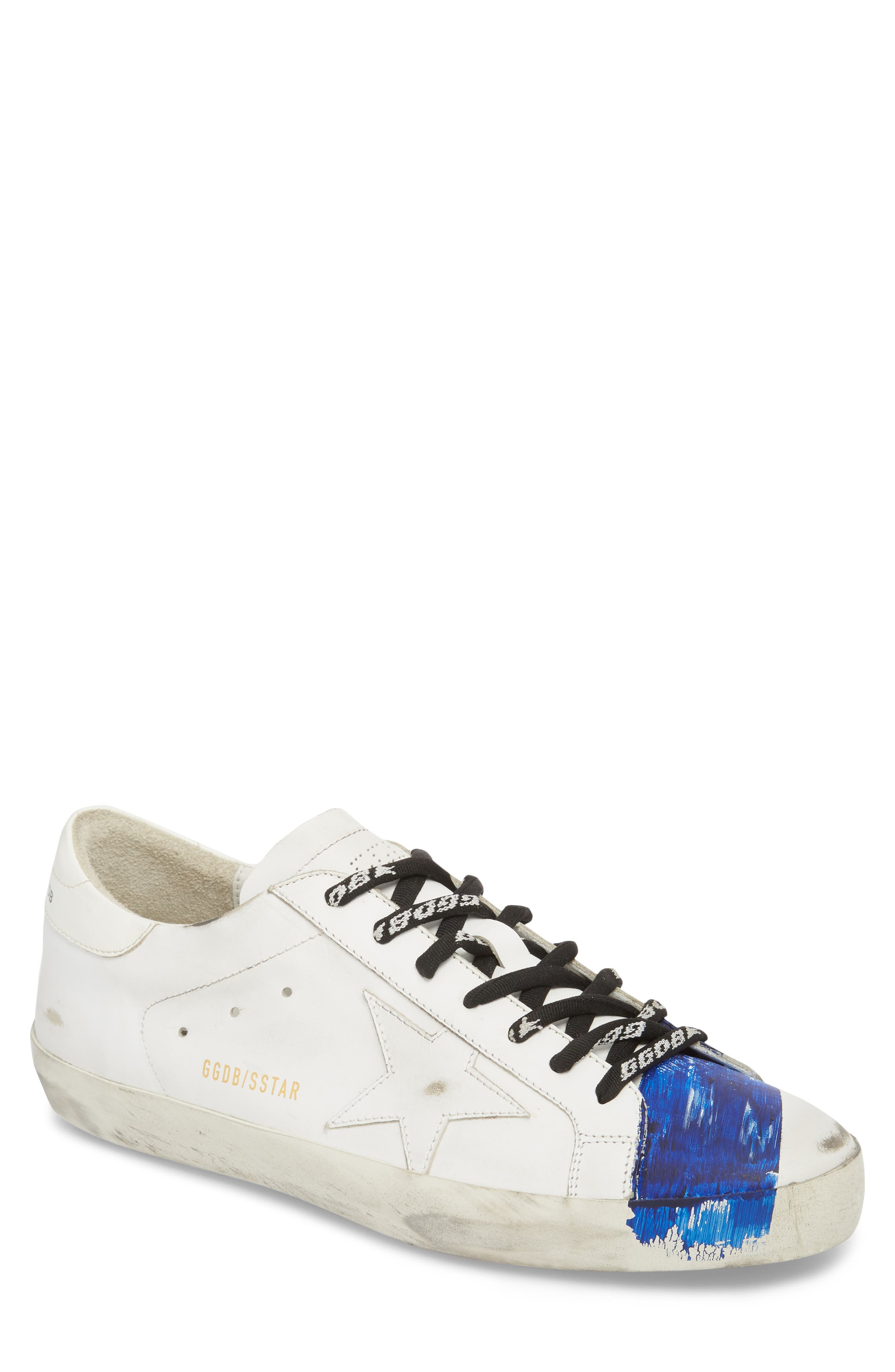 Superstar Distressed Sneaker,                             Main thumbnail 1, color,                             WHITE-BLUE STRIPE