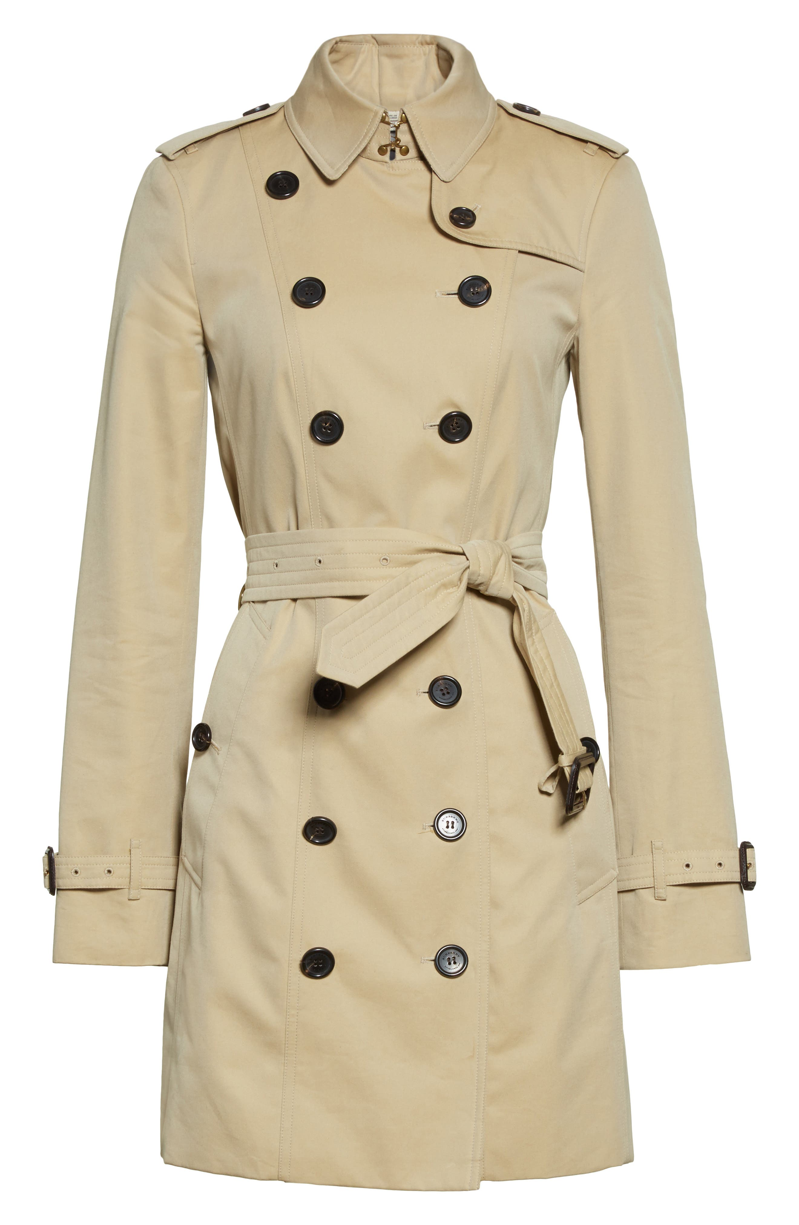 BURBERRY,                             Sandringham Mid Slim Trench Coat,                             Alternate thumbnail 6, color,                             HONEY