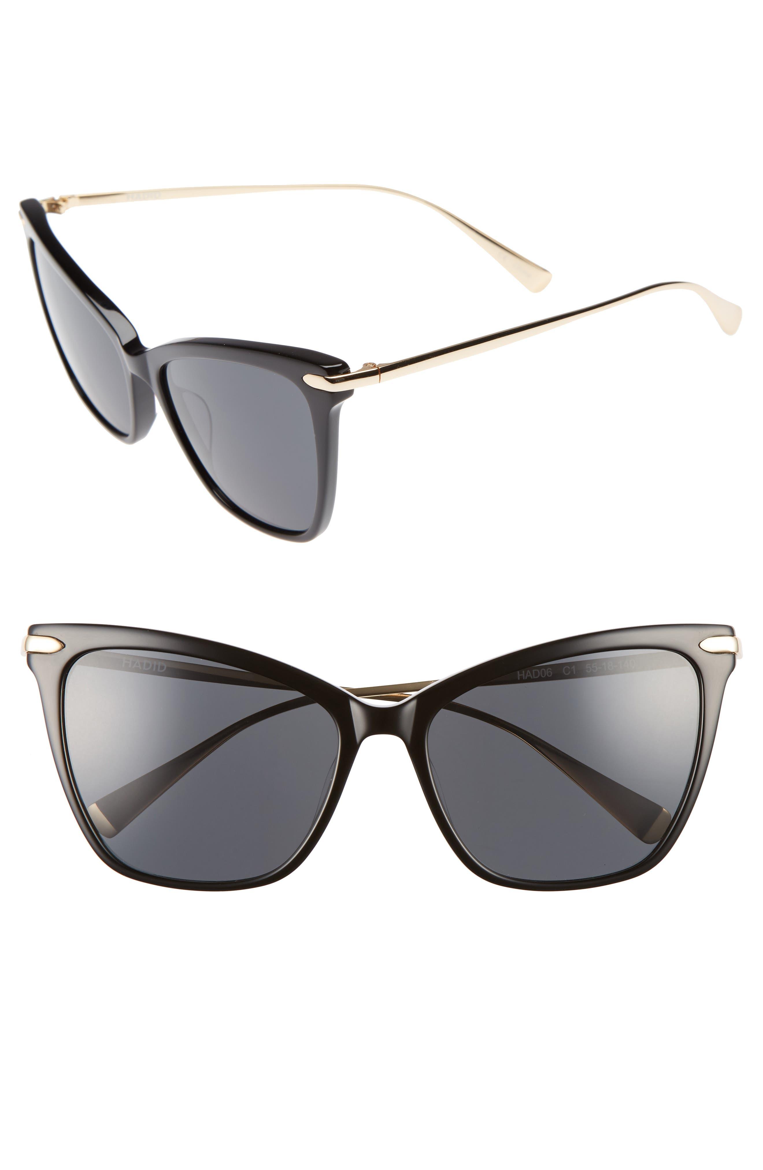 Jetsetter 55mm Cat Eye Sunglasses,                             Main thumbnail 1, color,                             001