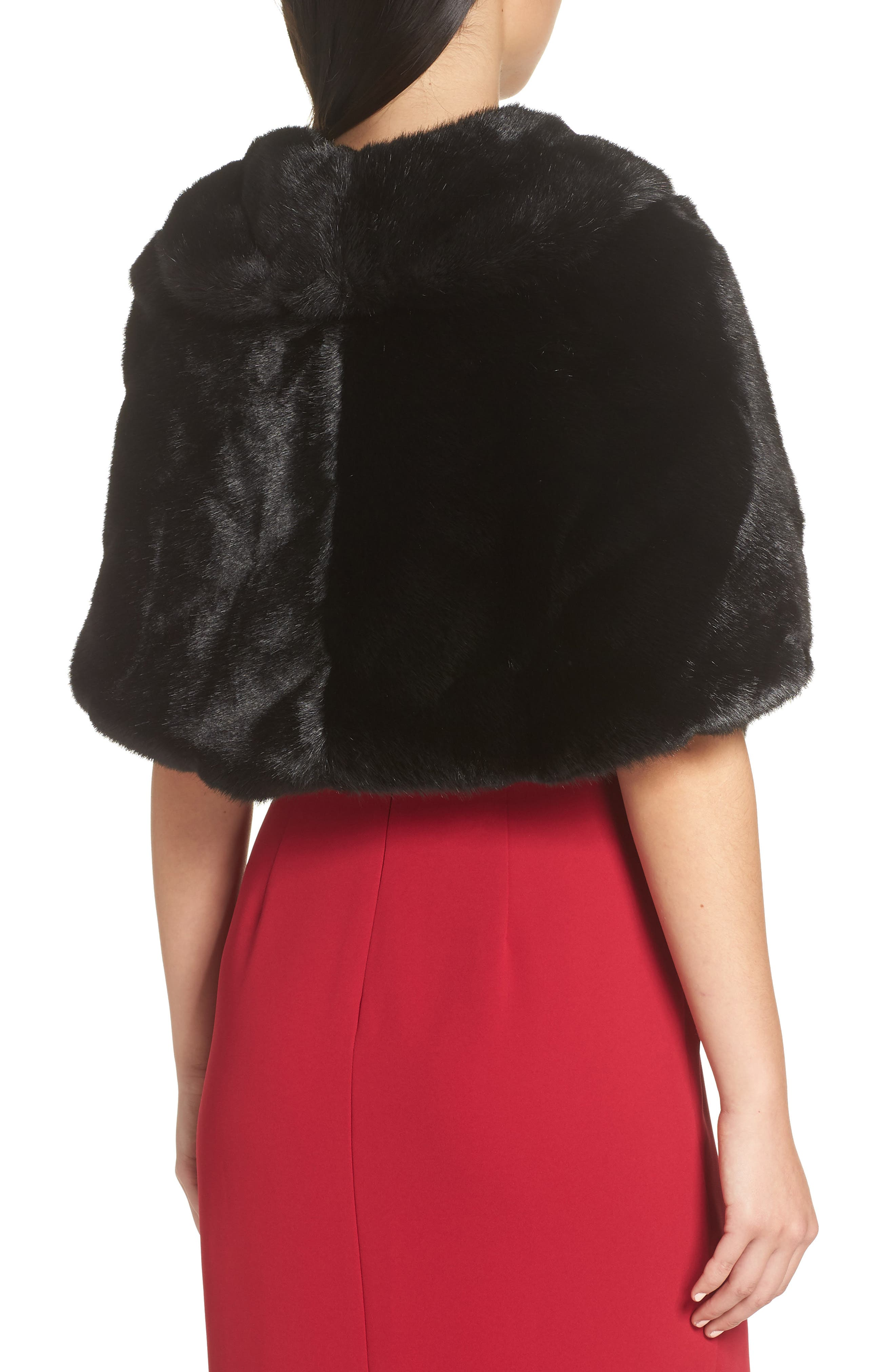 Faux Fur Capelet,                             Alternate thumbnail 2, color,                             BLACK