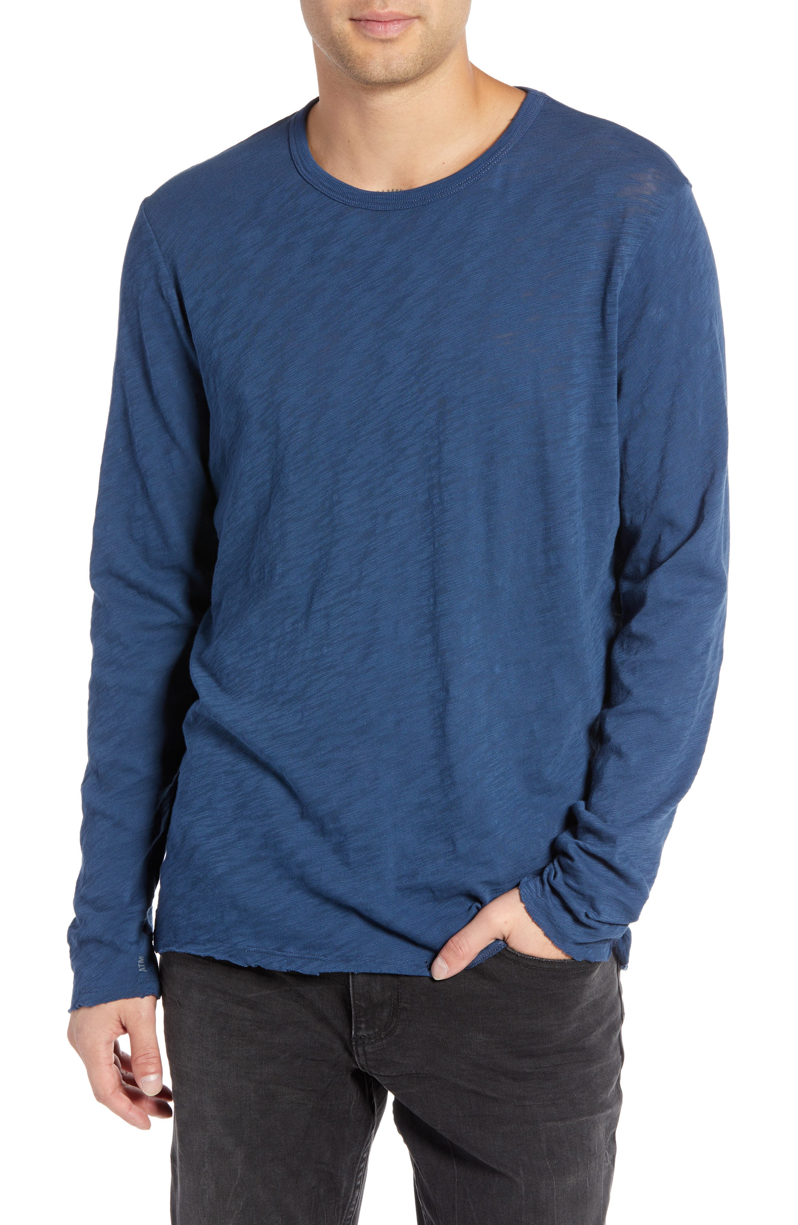Destroyed Long Sleeve T-Shirt,                         Main,                         color, DEEP OCEAN