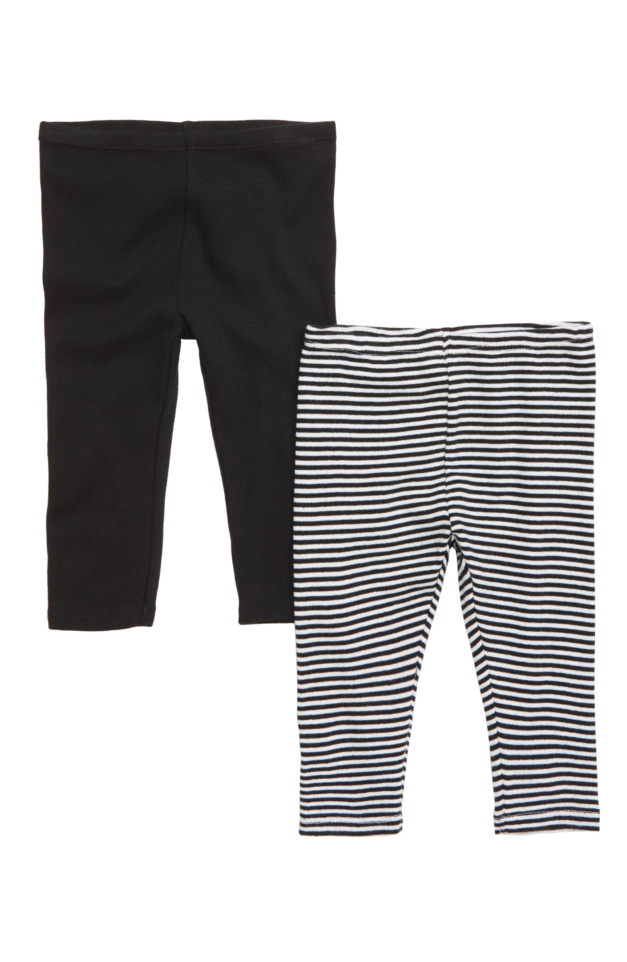 Cotton Leggings,                         Main,                         color, BLACK- WHITE PACK
