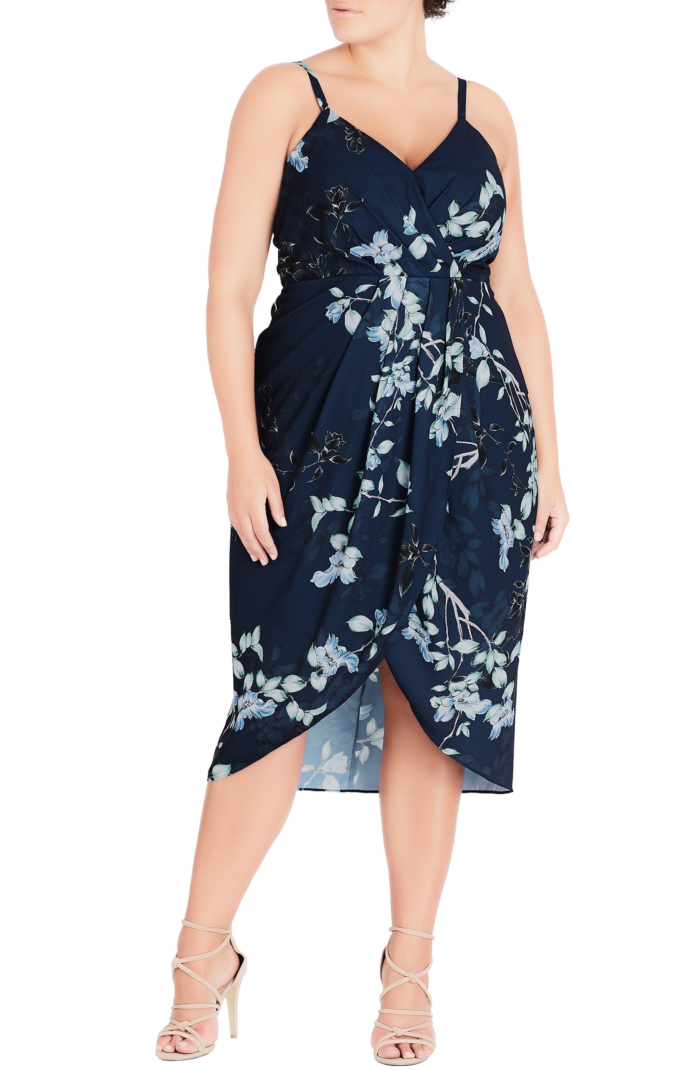 Plus Size City Chic Navy Bloom Faux Wrap Dress, Blue