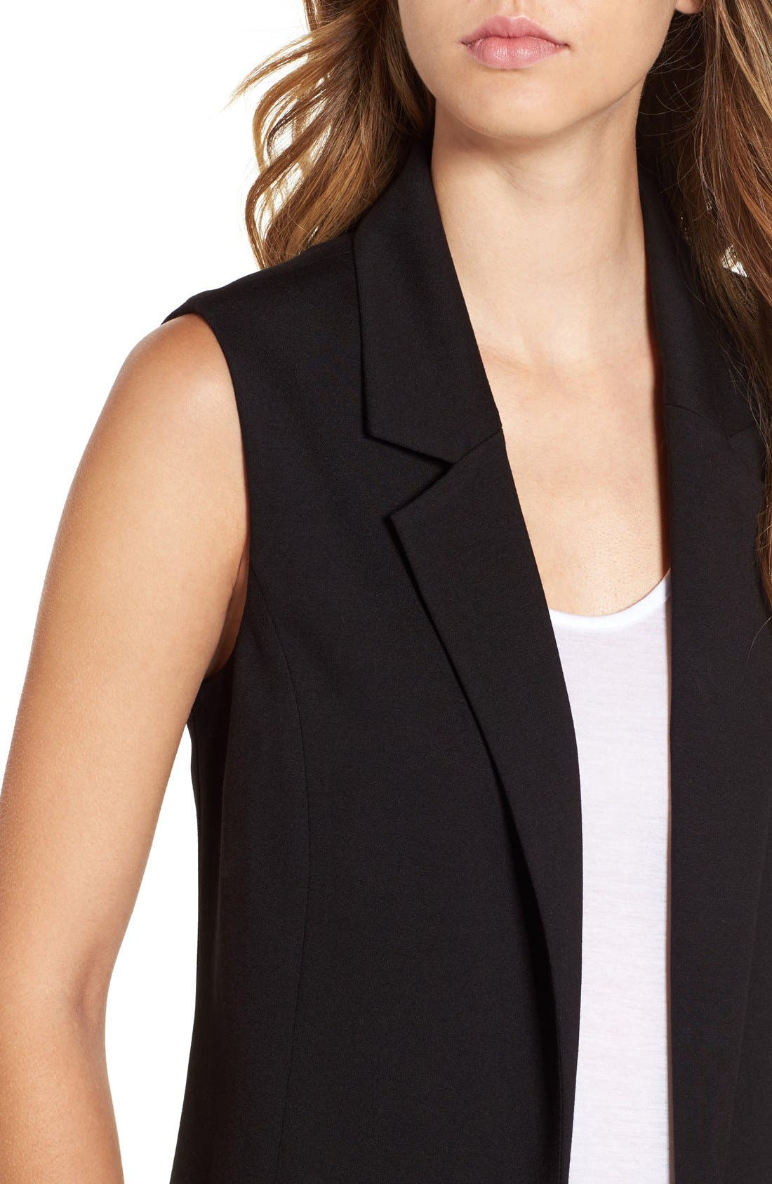 Stretch Ponte Long Vest,                             Alternate thumbnail 5, color,                             001