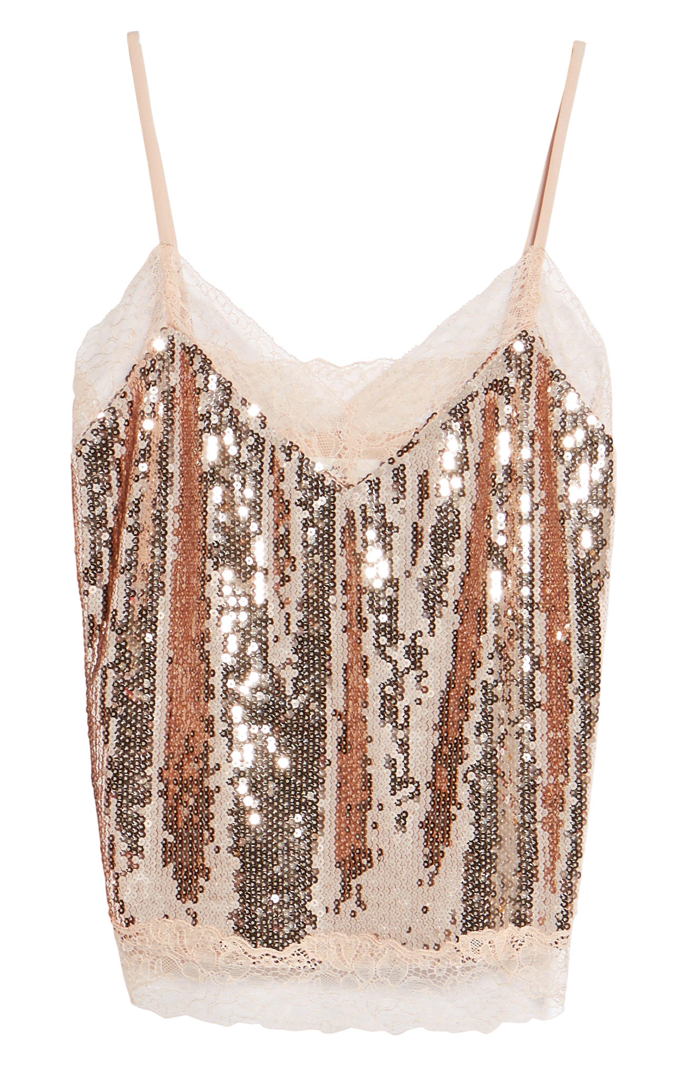 Lace Trim Sequin Camisole Top,                             Alternate thumbnail 6, color,